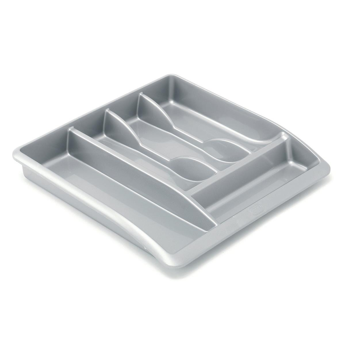 Addis Drawer Organiser Plastic High Gloss Metallic Silver Ref 510855 Pack 1