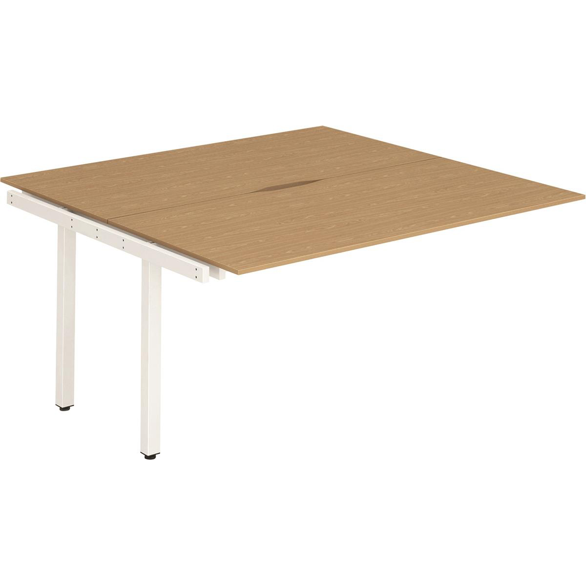 Trexus Bench Desk Double Extension Back to Back Configuration White Leg 1200x1600mm Oak Ref BE198
