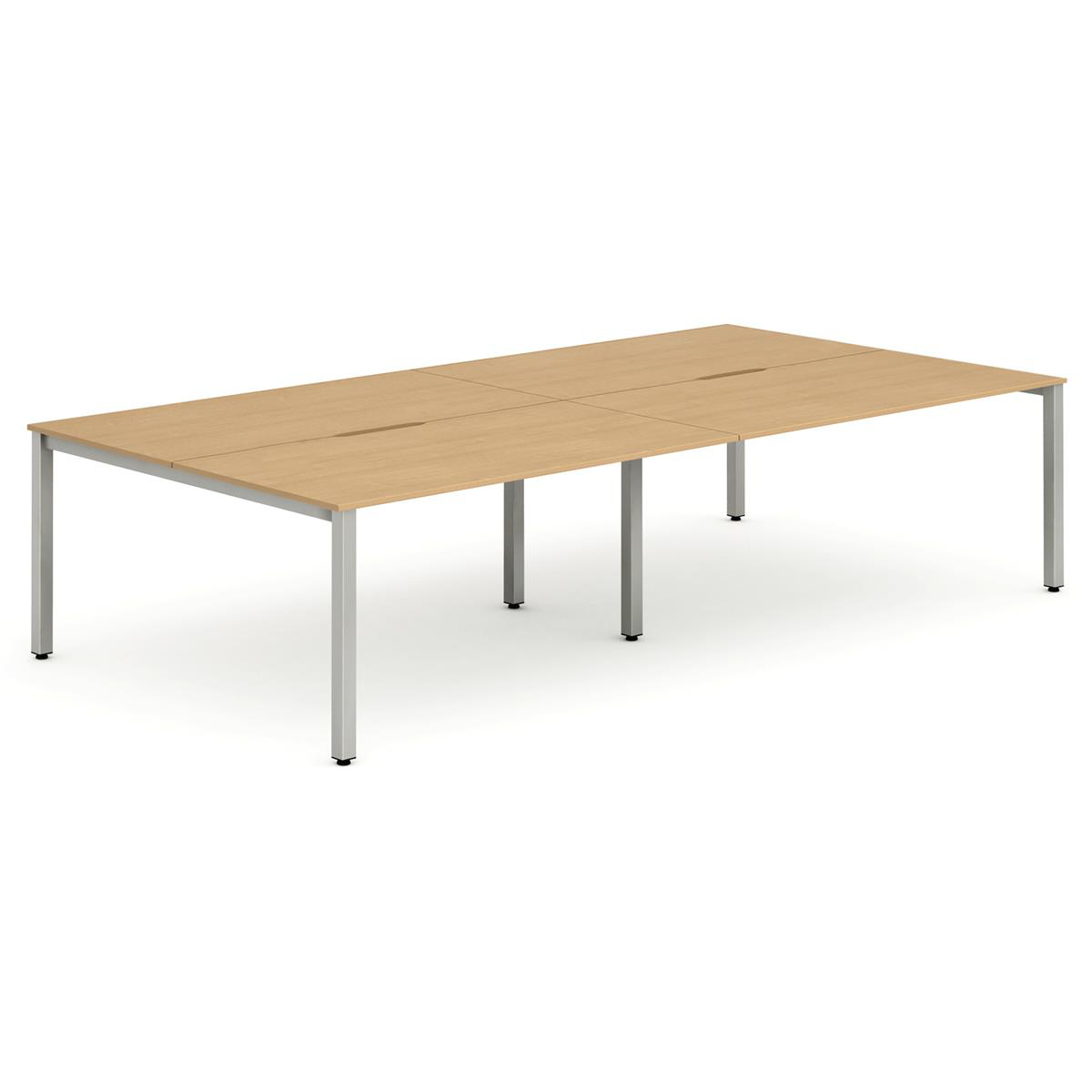 Trexus Bench Desk 4 Person Lockable Sliding Top 1400mm Beech with Silver Frame