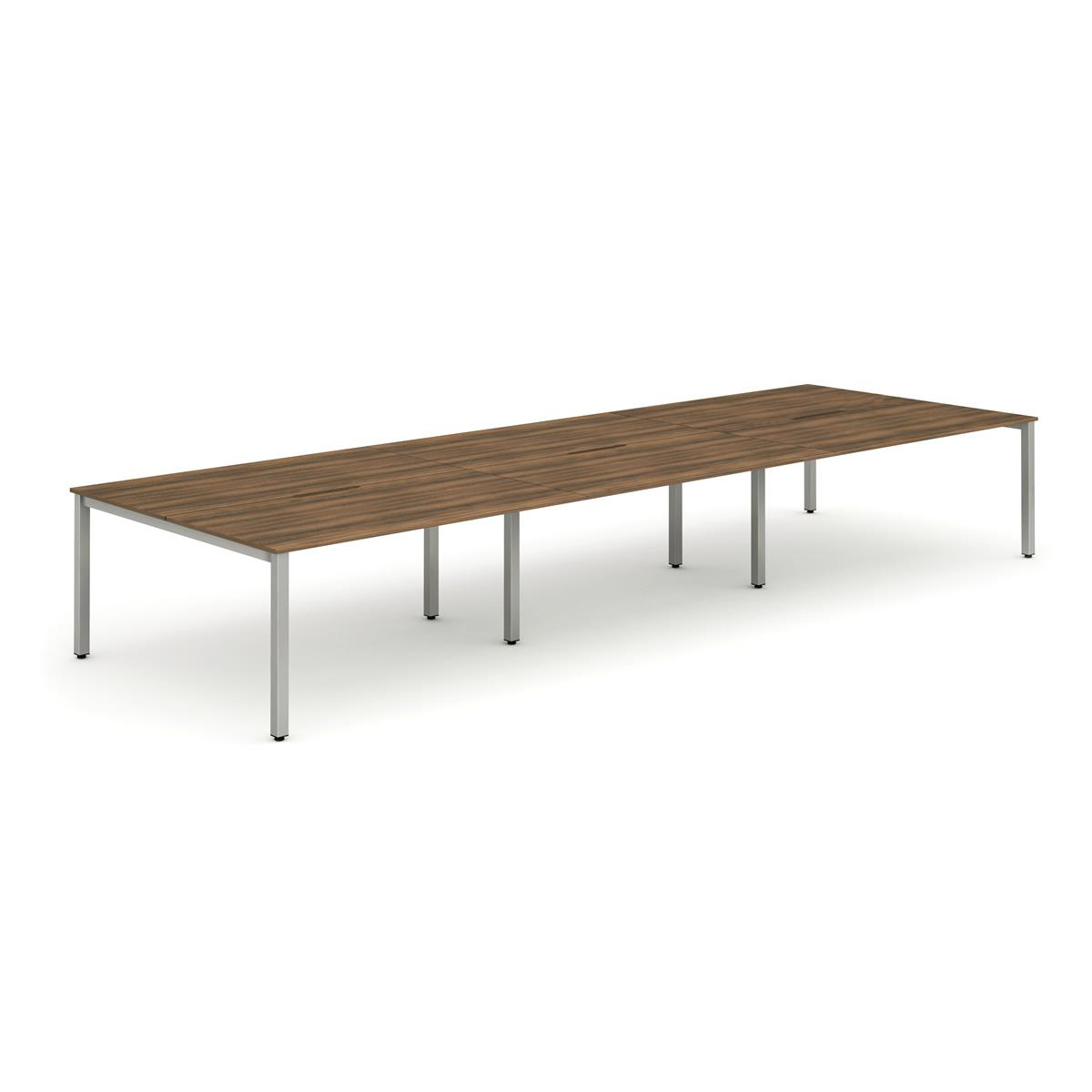 Trexus Bench Desk 6 Person Back to Back Configuration Silver Leg 2800x1600mm Walnut Ref BE294