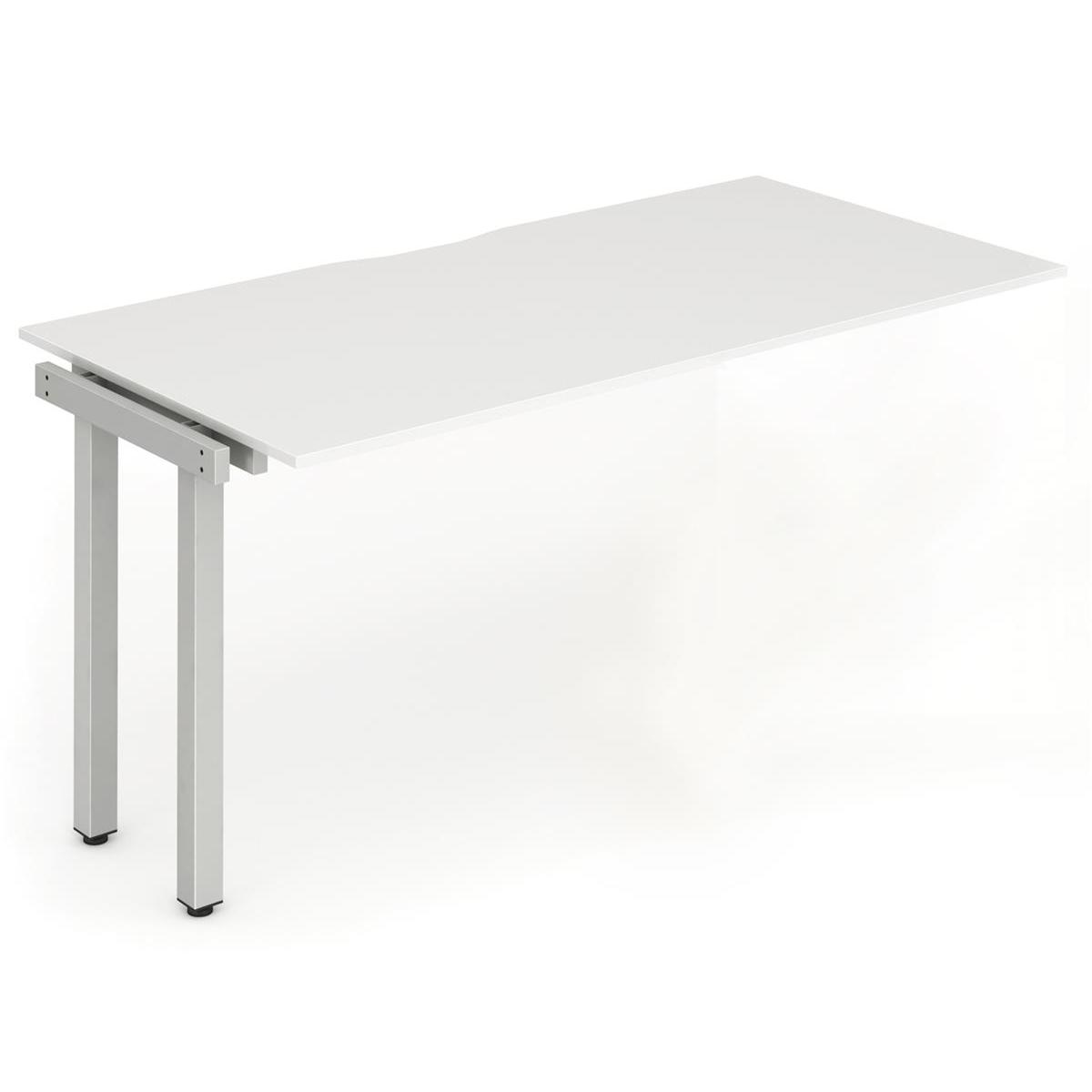 Trexus Bench Desk Single Extension Silver Leg 1600x800mm White Ref BE330