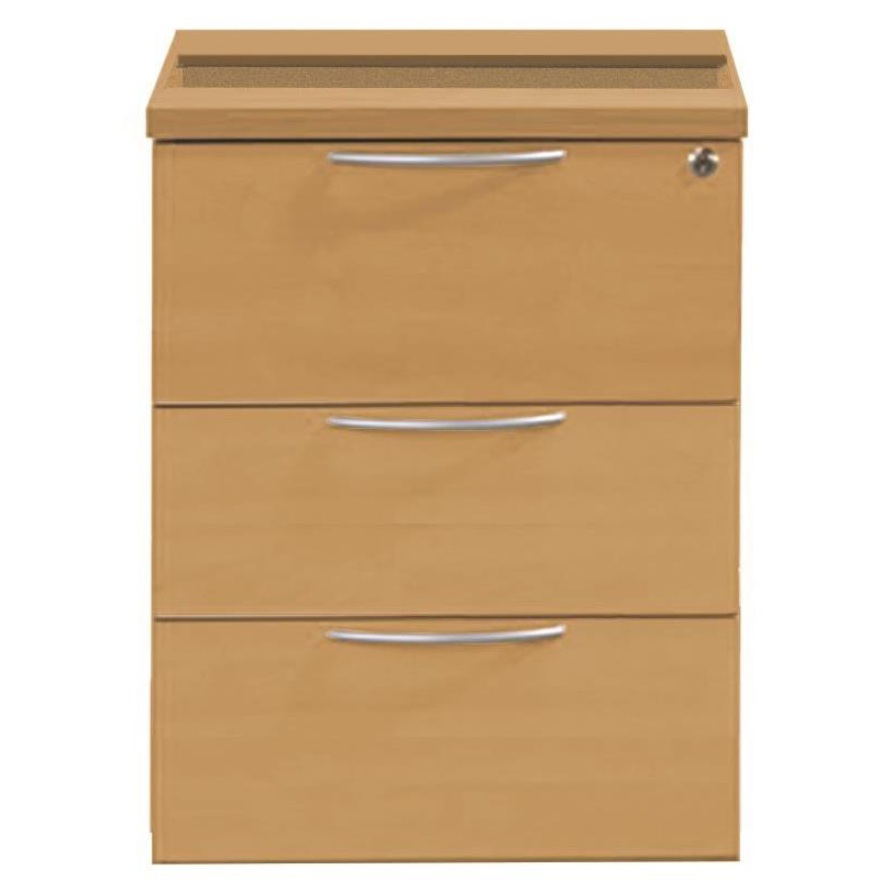 Sonix 3 Drawer Fixed Pedestal 430x565x490mm Rich Beech Ref w9148b