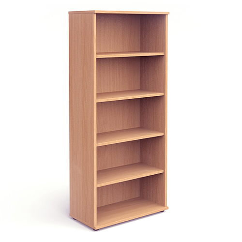 Bookcases Trexus Office Very High Bookcase 800x400x2000mm 4 Shelves Beech Ref I000052