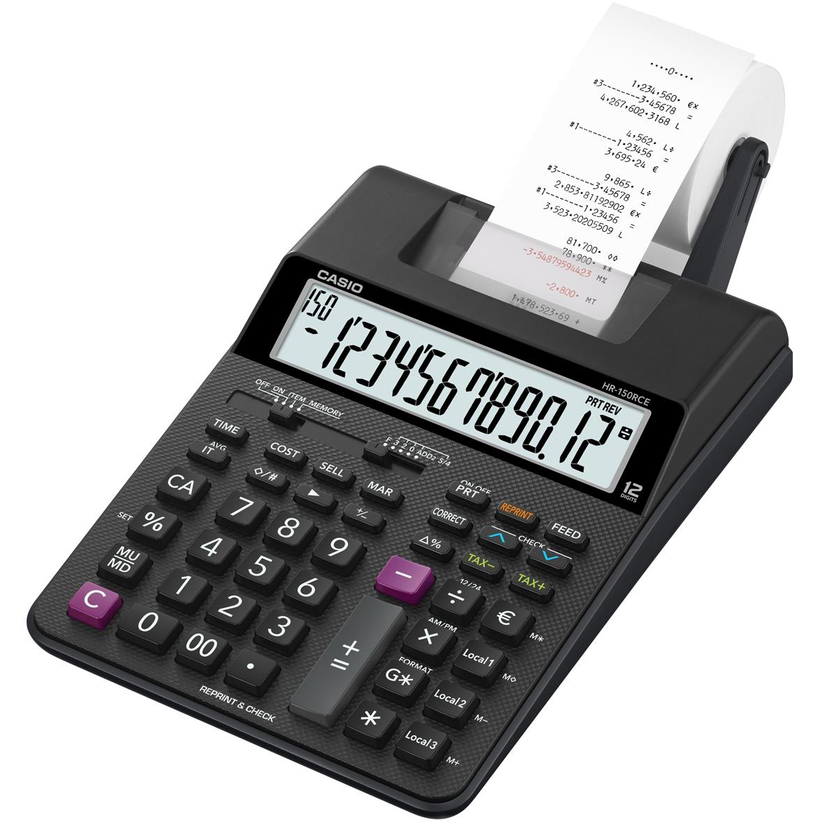 Desktop Calculator Casio Desktop Printing Calculator 12 Digit Display 2 Colour Printing 165x65x295mm Black Ref HR-150RCE