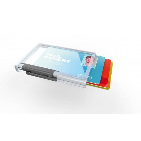 Durable Pushbox Trio Card Holder 3 Cards Internal Dimensions 54x87mm Transparent Ref 892019 Pack 10