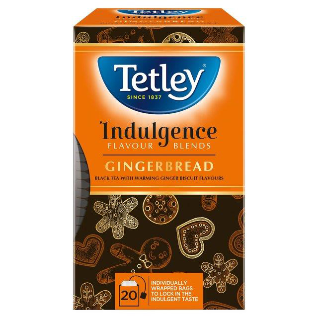 Tetley Indulgence Individually Enveloped Teabags String & Tag Gingerbread Ref 4000A 20 Bags