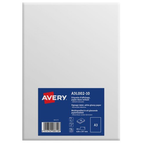 Avery Labels Premium Removable A3 White Ref A3L002-10 Pack 10