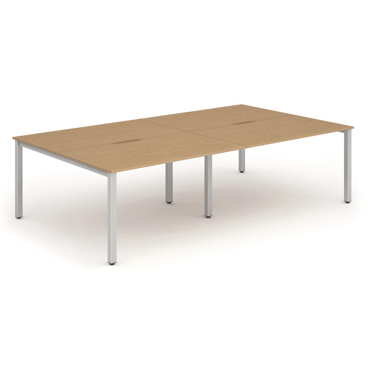 Trexus Bench Desk 4 Person Lockable Sliding Top 1400mm Oak with Silver Frame