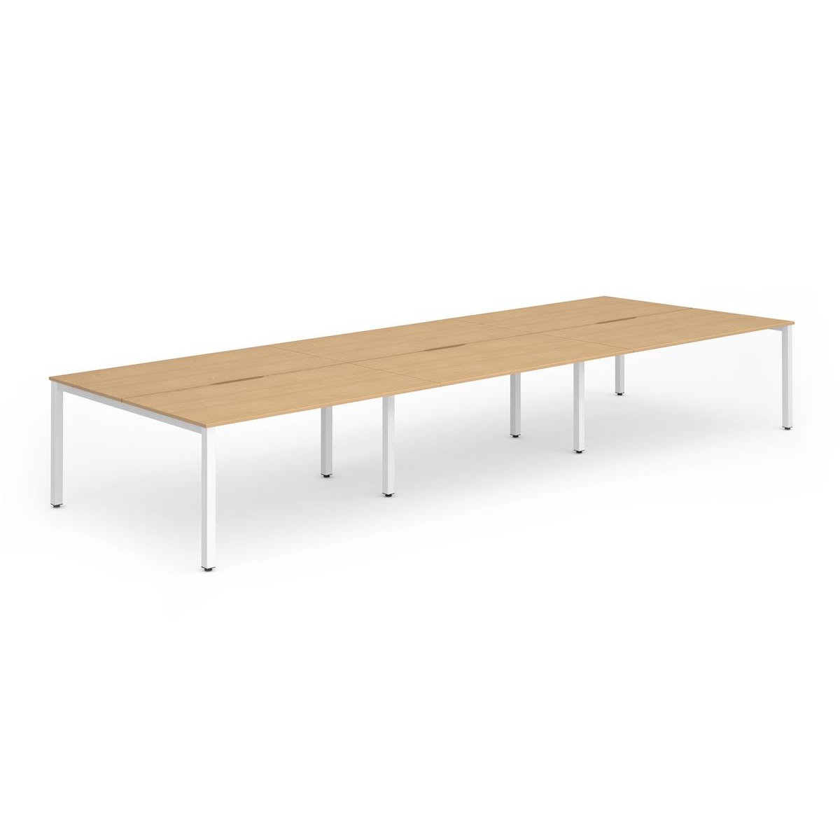 Trexus Bench Desk 6 Person Back to Back Configuration White Leg 2800x1600mm Beech Ref BE277