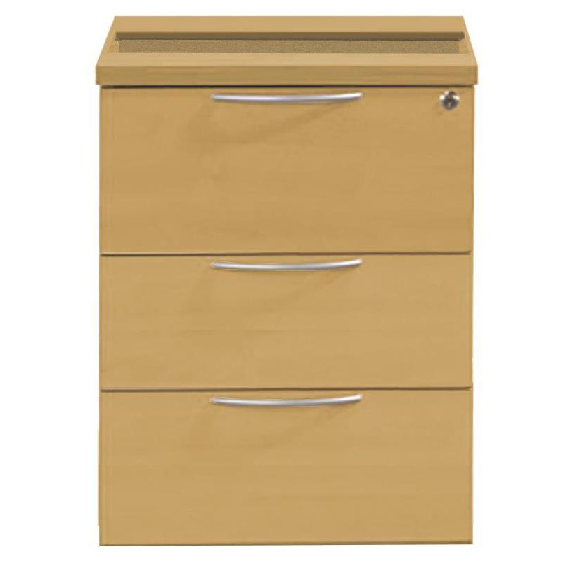Sonix 3 Drawer Fixed Pedestal 430x565x490mm Natural Oak Ref w9148o