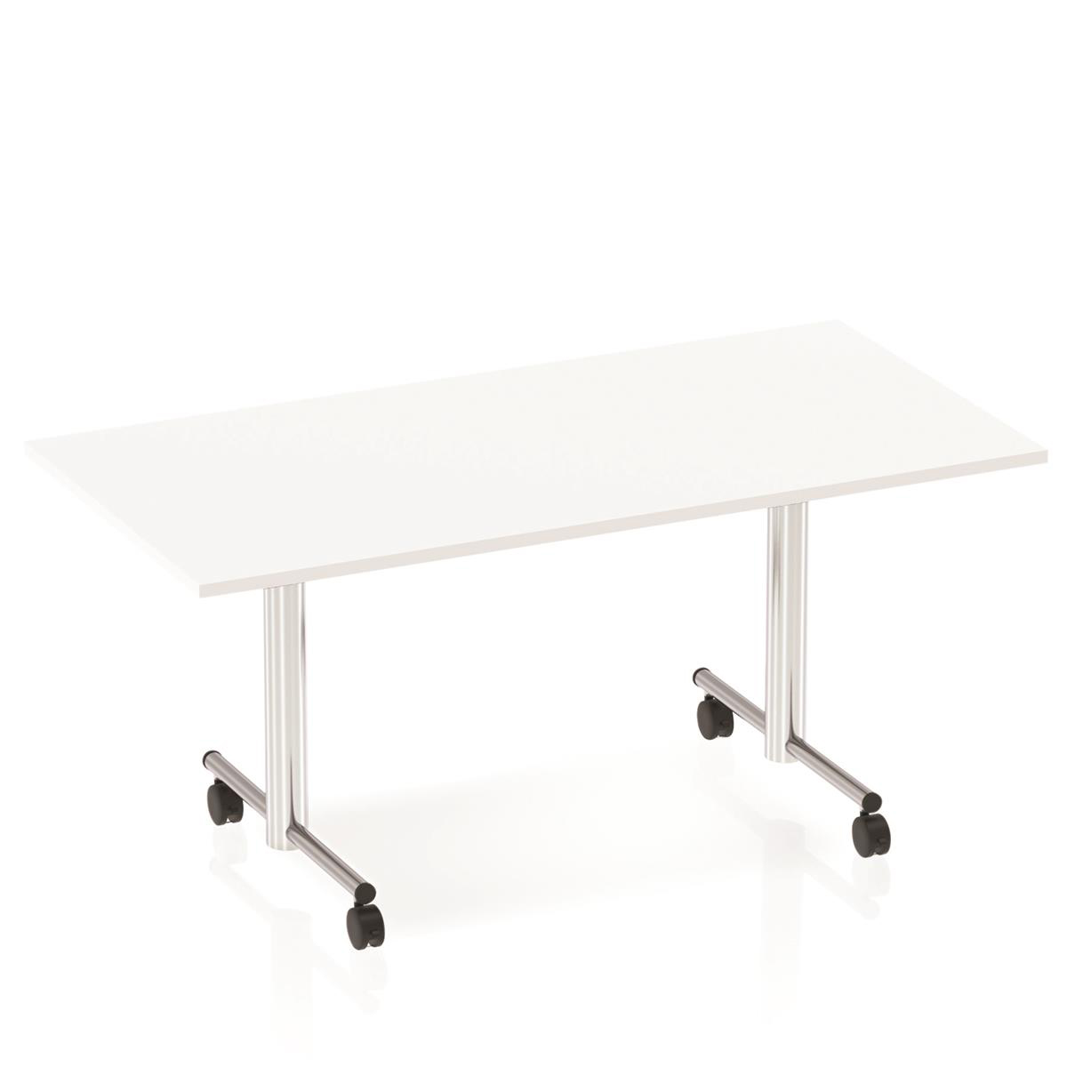 Sonix Rectangular Chrome Leg Flip Top Table 1600x800mm White Ref I000713