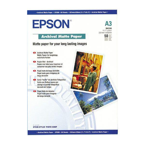 Epson Archival Matte Paper 189gsm A3 Ref C13S041344 50 Sheets