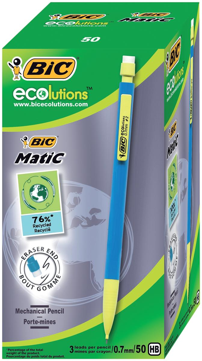 Image for Bic Matic Ecolution Mechanical Pencil with 3 x HB 0.7mm Lead Ref 8877191 [Pack 50]