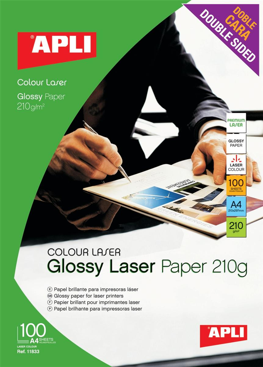 Image for Apli Laser Paper Glossy Double-sided 210gsm A4 Ref 11833 [100 Sheets]
