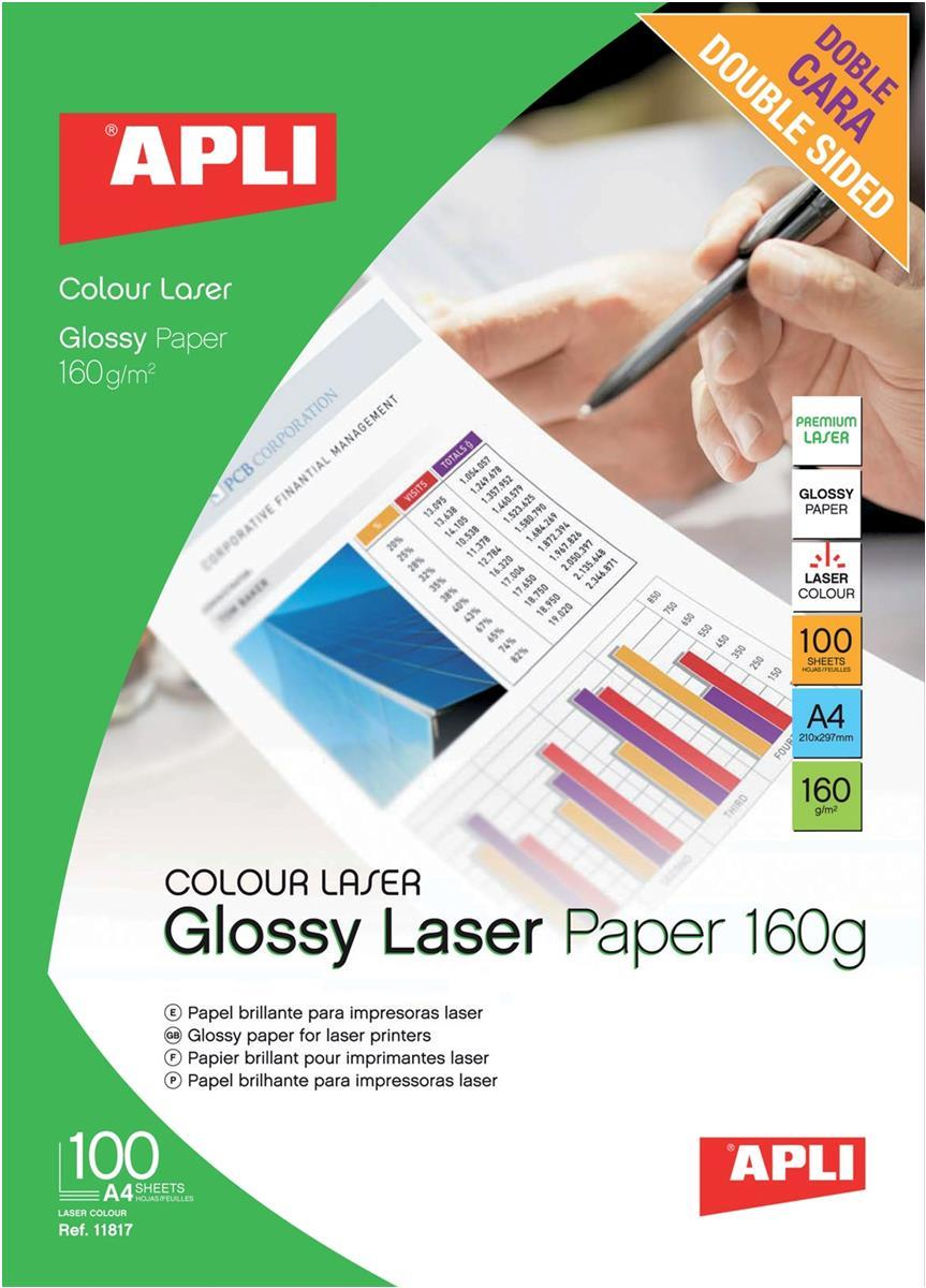 Image for Apli Laser Paper Glossy Double-sided 160gsm A4 Ref 11817 [100 Sheets]