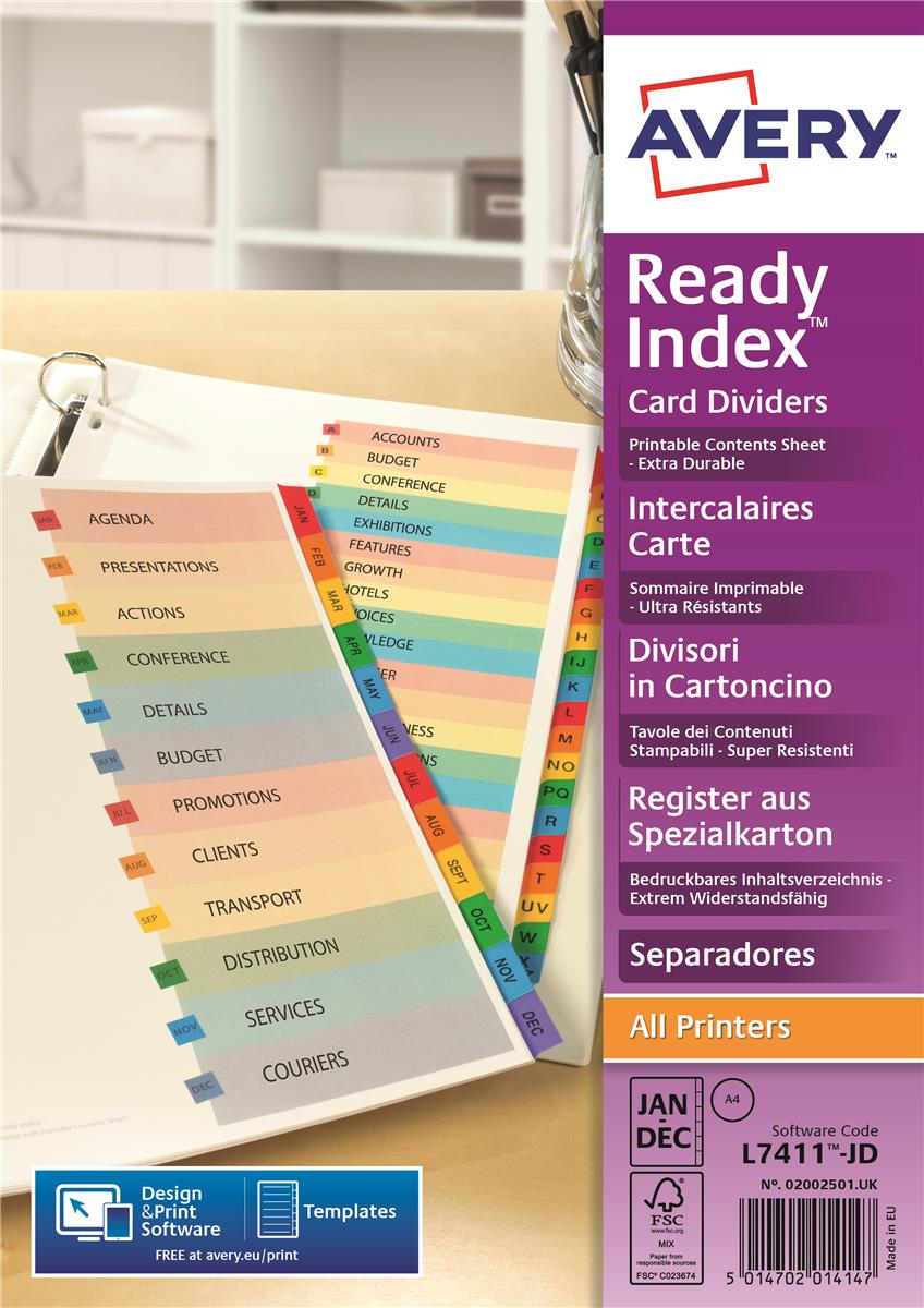 Image for Avery ReadyIndex Dividers Card Mylar Tabs A4 10-Part Ref 01971501 L7451-10