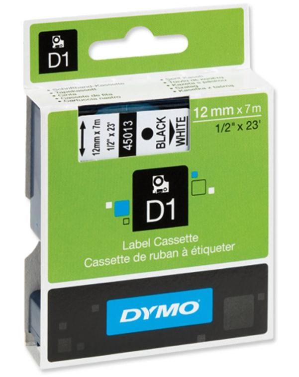 Image for Dymo D1 Tape for Electronic Labelmakers 12mmx7m Black on White Ref 45013 S0720530