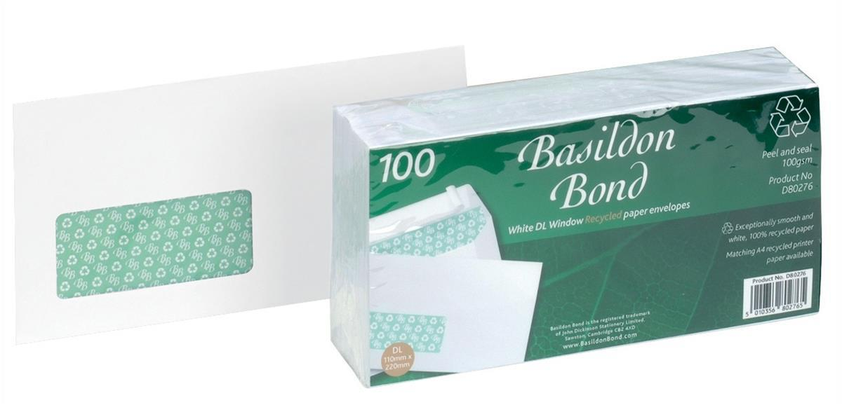 Image for Basildon Bond Envelopes Recycled Wallet Window Peel and Seal 120gsm DL White Ref D80276 [Pack 100]
