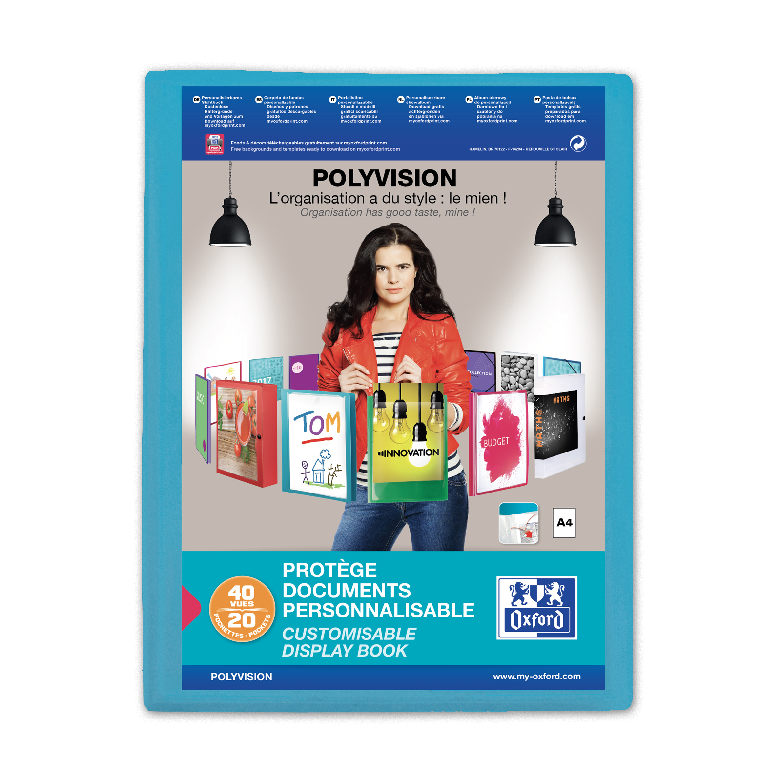 Display Books Oxford Polyvision Display Book Polypropylene 20 Pockets A4 Blue Ref 100206087