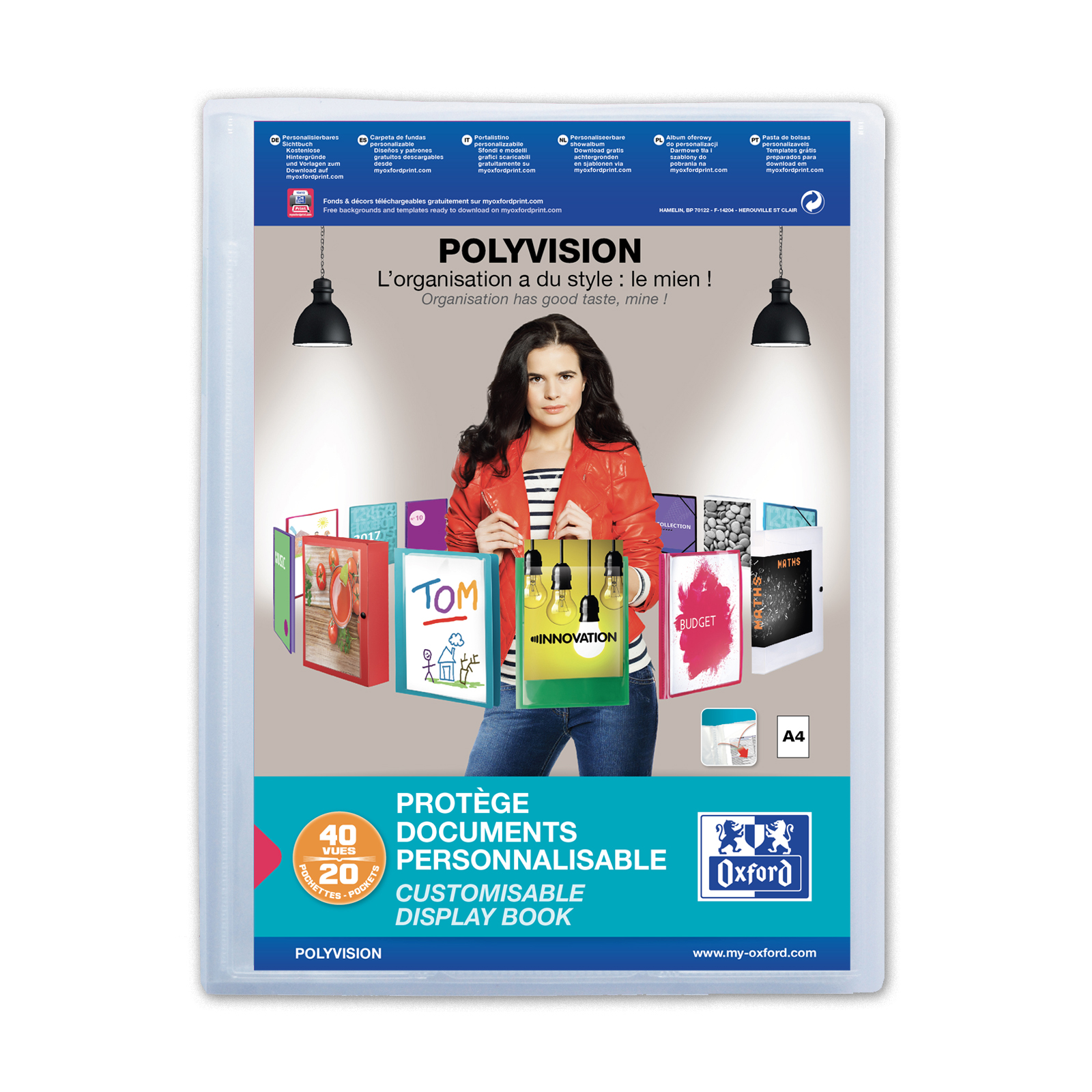 Display Books Oxford Polyvision Display Book Polypropylene 20 Pockets A4 Clear Ref 100206088