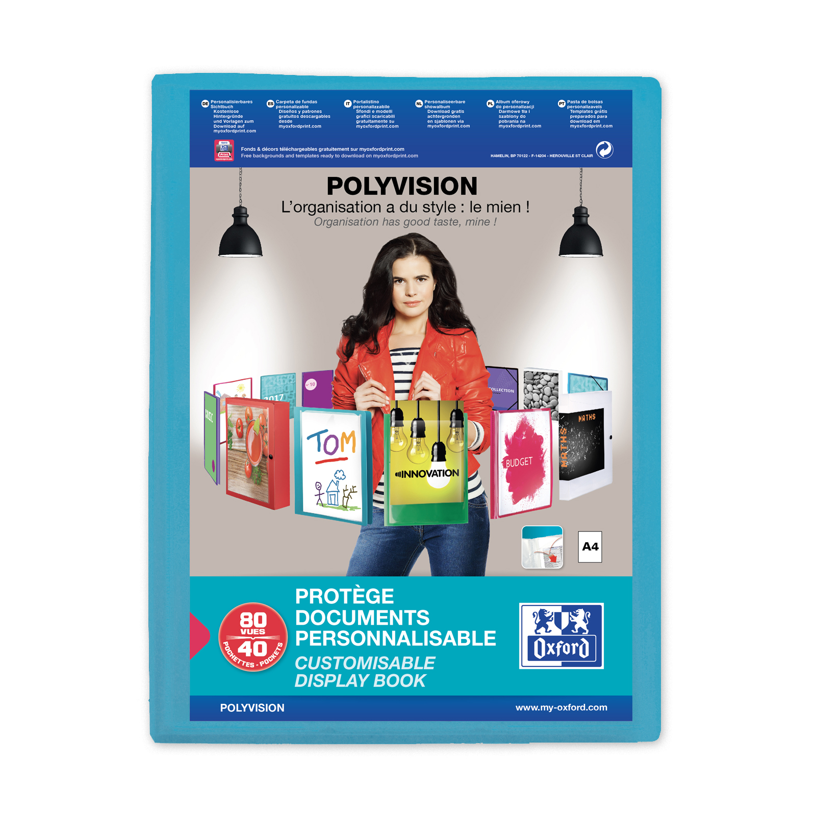 Display Books Oxford Polyvision Display Book Polypropylene 40 Pockets A4 Blue Ref 100206231