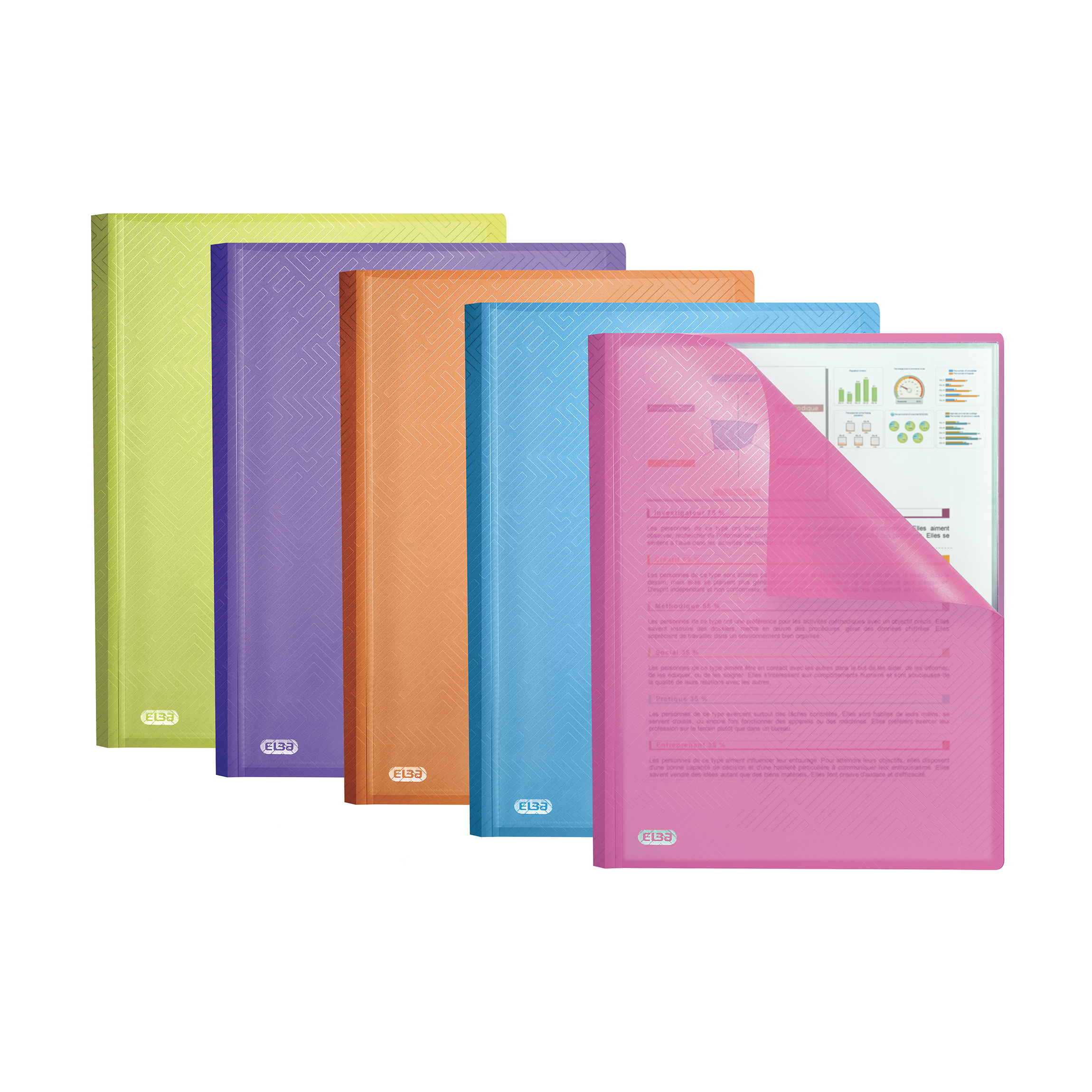 Elba Bright Display Book PP 20 Pkt A4 Astd Ref 400101909 [Pack 10]