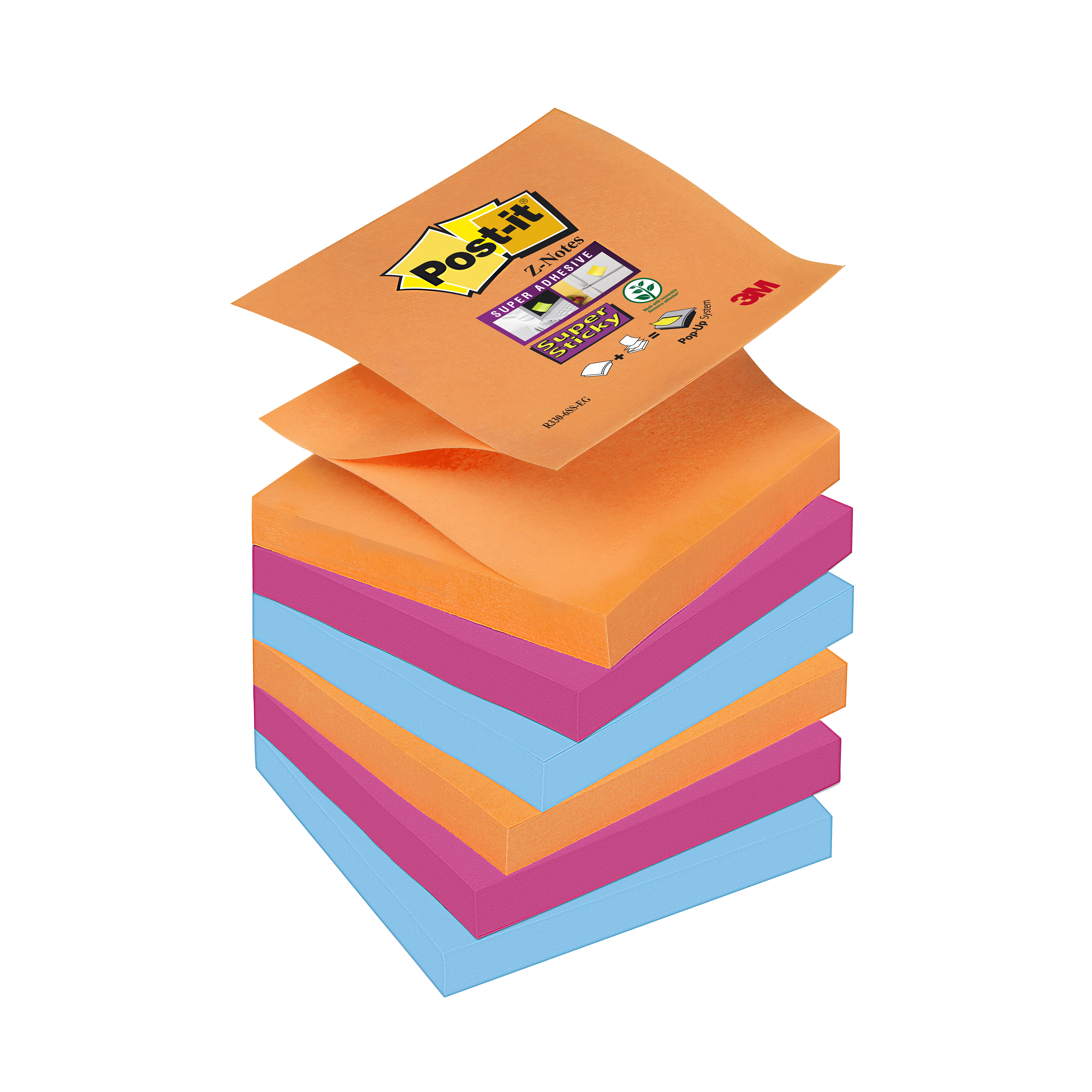 Post-it Super Sticky Z-Notes Pad 90 Sheets Bangkok 76x76mm Ref R330-6SS-EG Pack 6