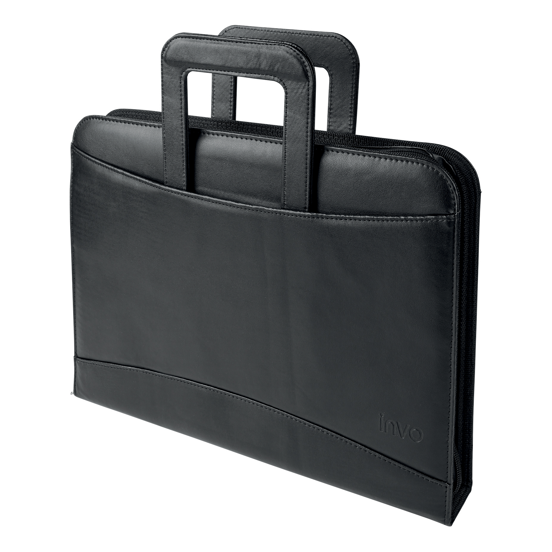 Potfolios 5 Star Office Zipped Conference Ring Binder with Handles Capacity 60mm Leather Look A4 Black