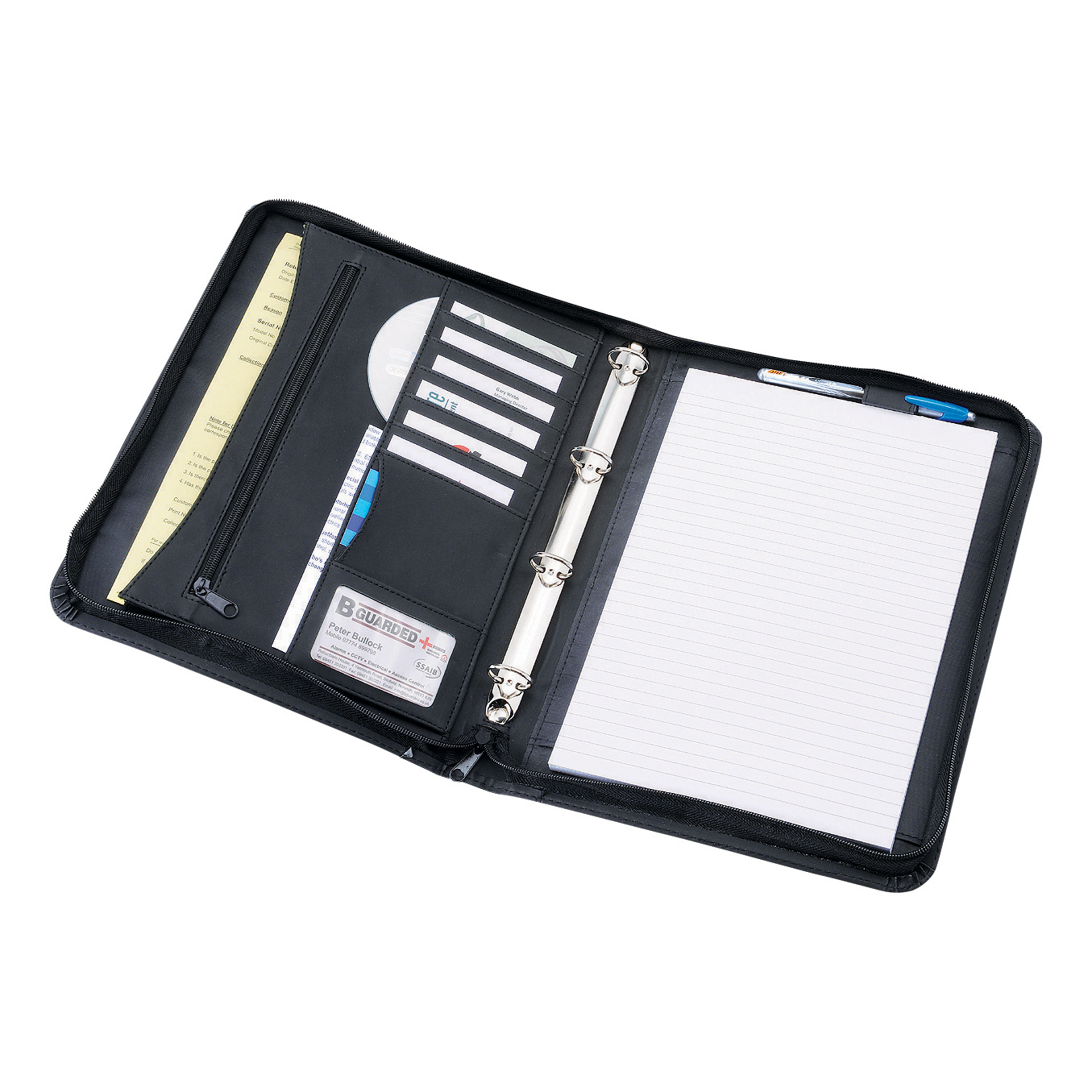 Potfolios 5 Star Office Zipped Conference Ring Binder Capacity 30mm Leather Look A4 Black