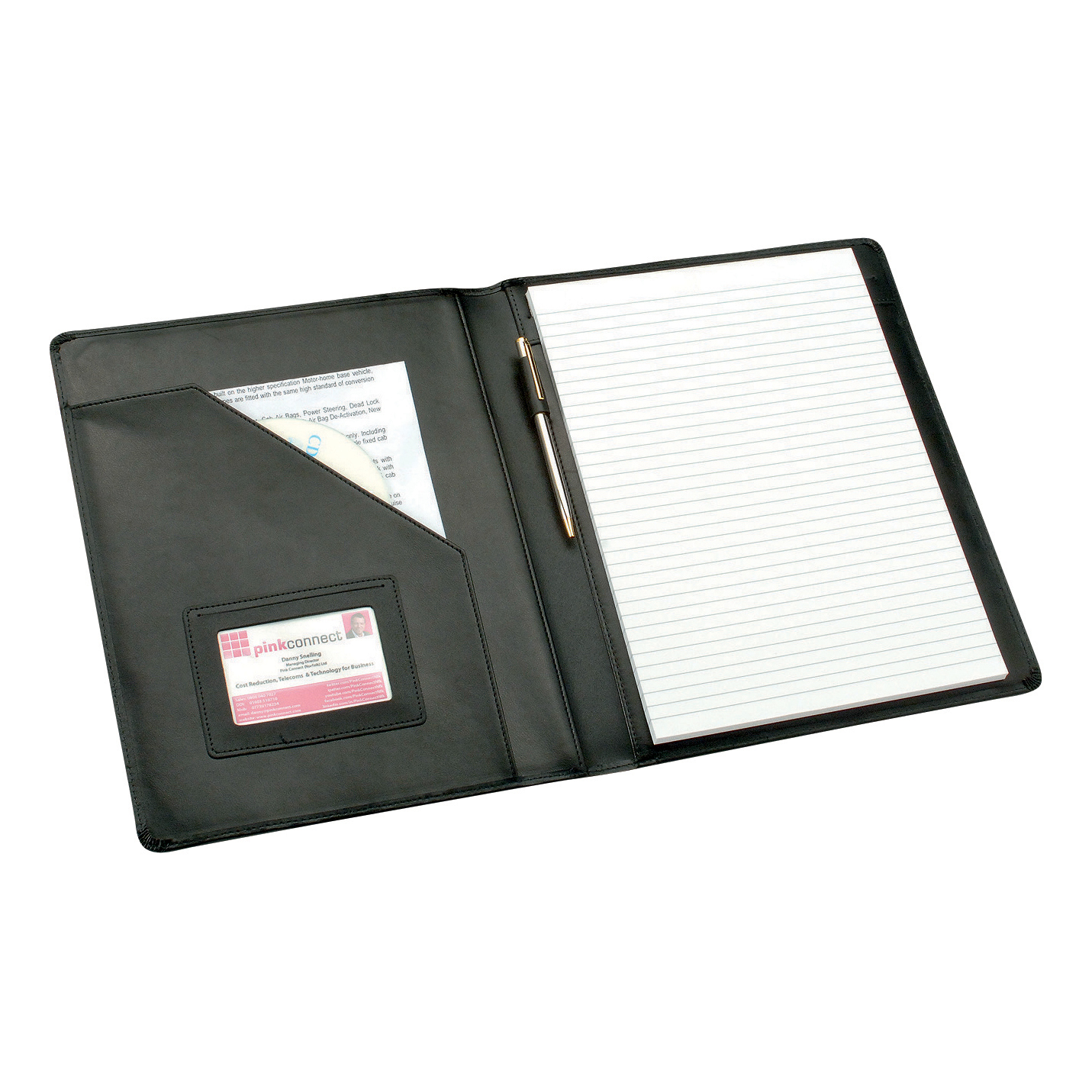 Potfolios 5 Star Elite Executive Conference Folder Genuine Leather Cover Capacity 30mm A4 Black