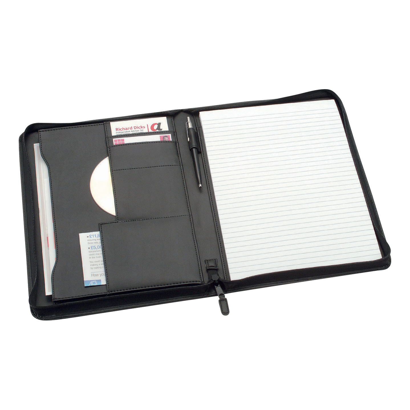 Potfolios 5 Star Office Zipped Conference Folder Capacity 20mm Leather Look A4 Black