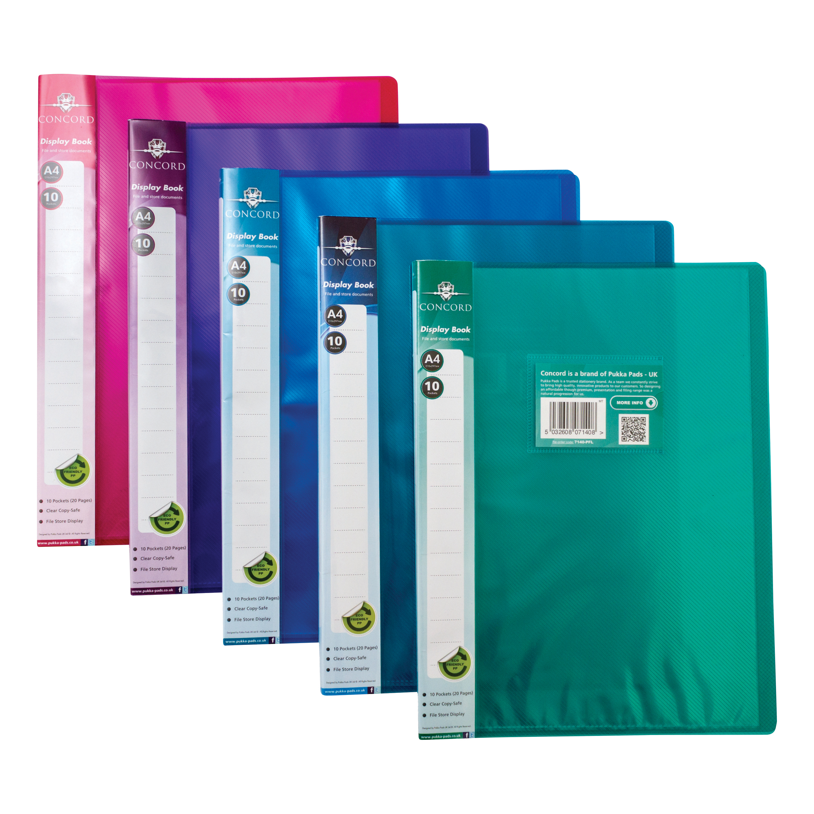 Display Books Concord Display Book Polypropylene 10 Pockets A4 Assorted Ref 7140-PFL Pack 10