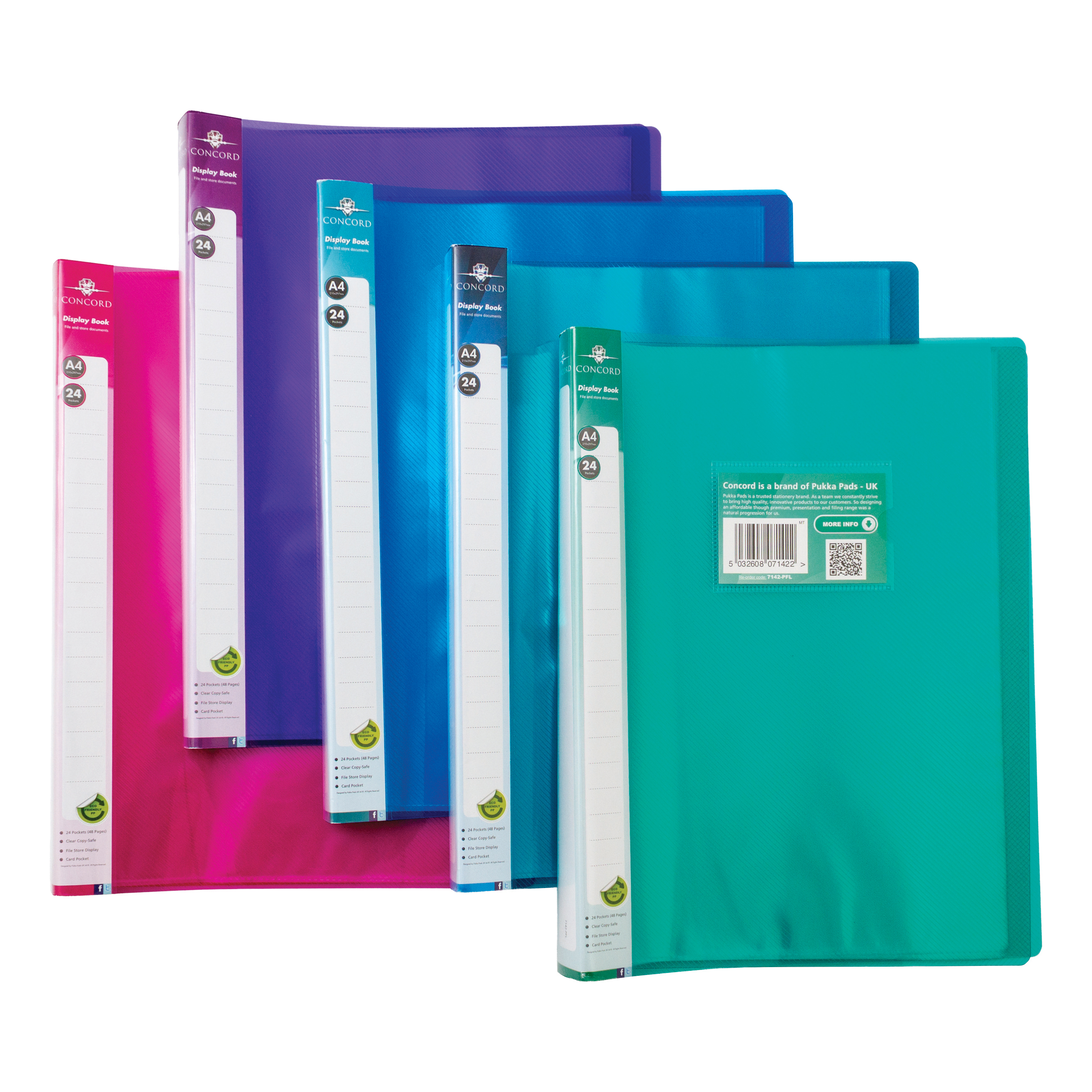 Display Books Concord Display Book Polypropylene 24 Pockets A4 Assorted Ref 7142-PFL Pack 10