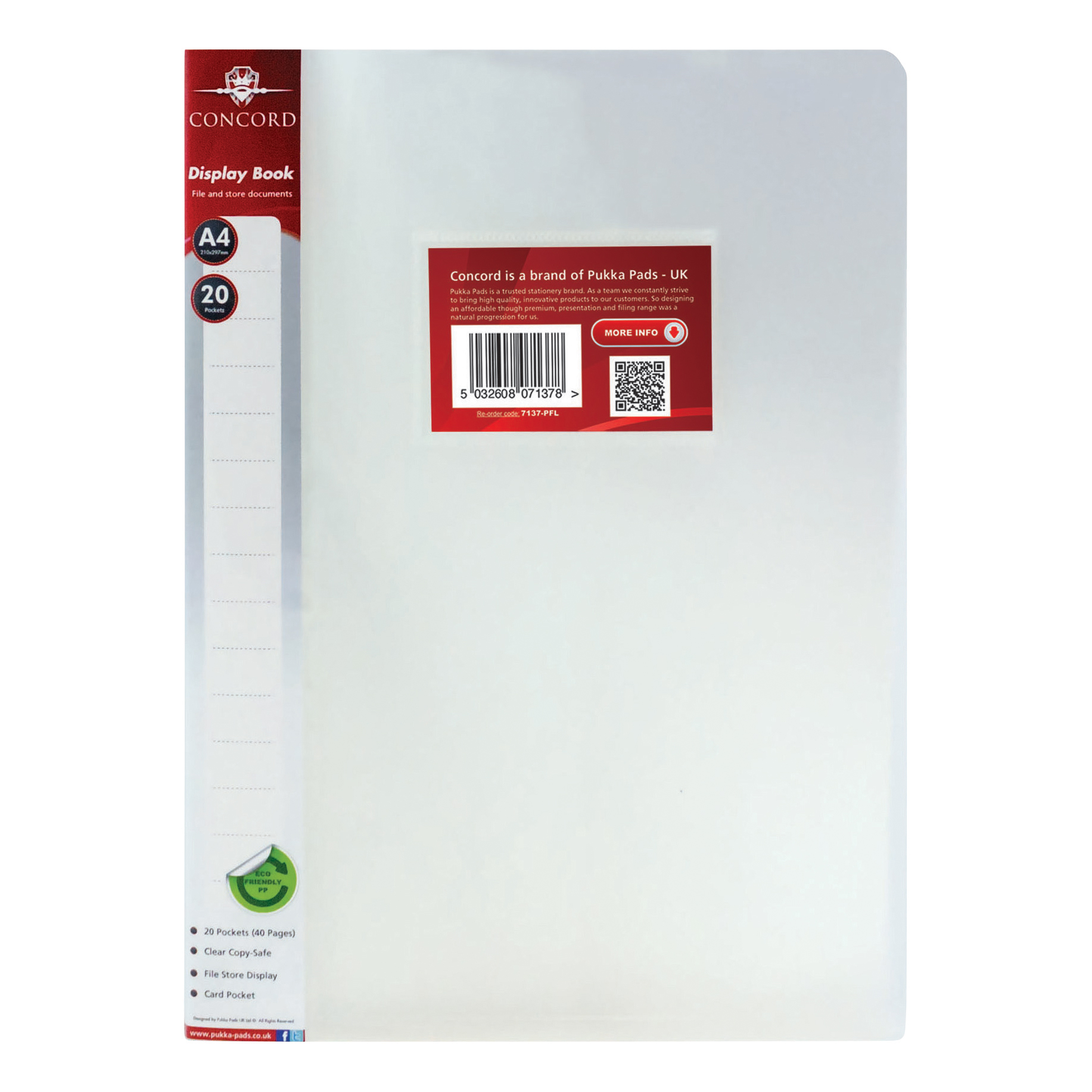Concord Display Book Polypropylene 20 Pockets A4 Clear Ref 7137-PFL Pack 12