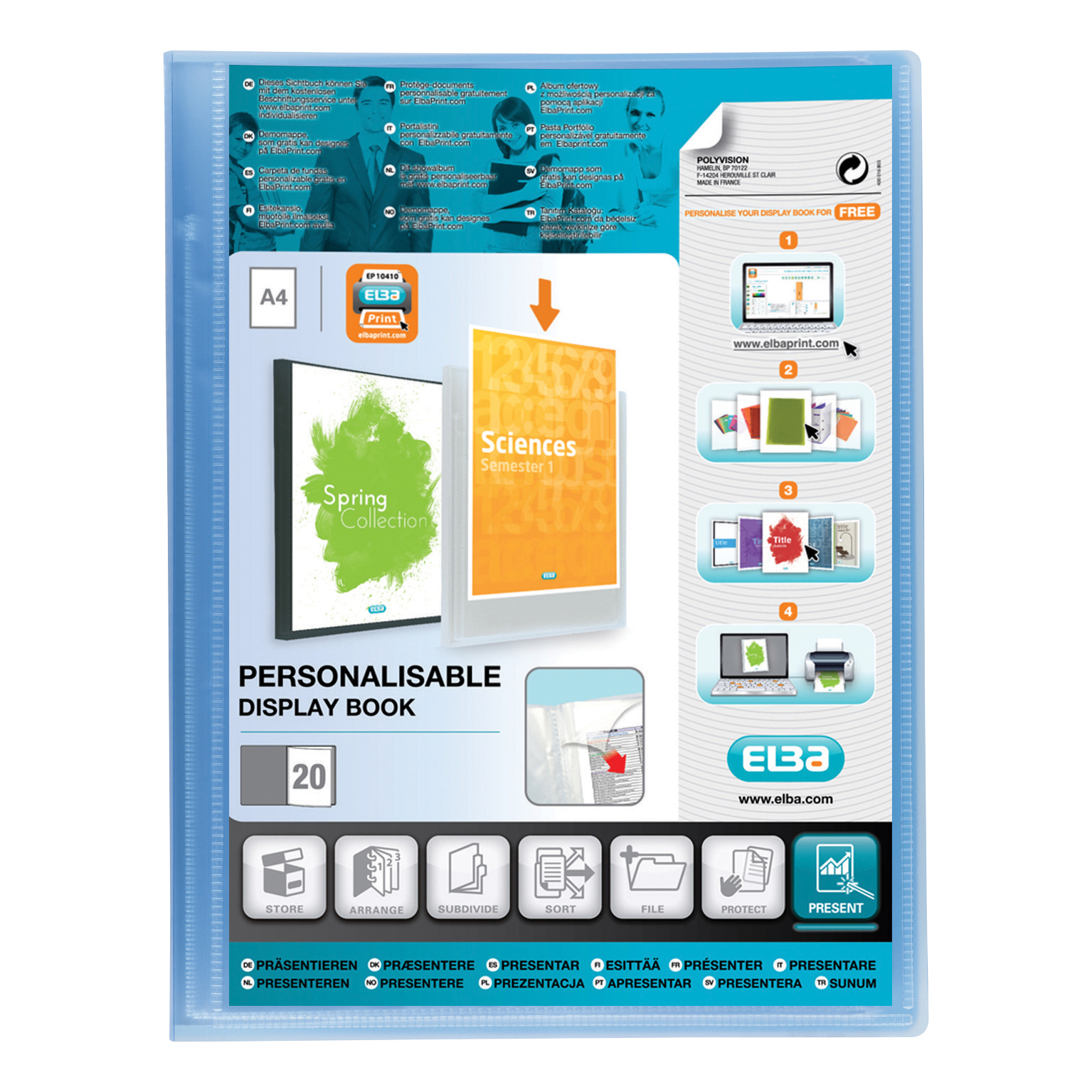 Elba Polyvision Display Book Polypropylene 20 Pockets A4 Blue Ref 100206087