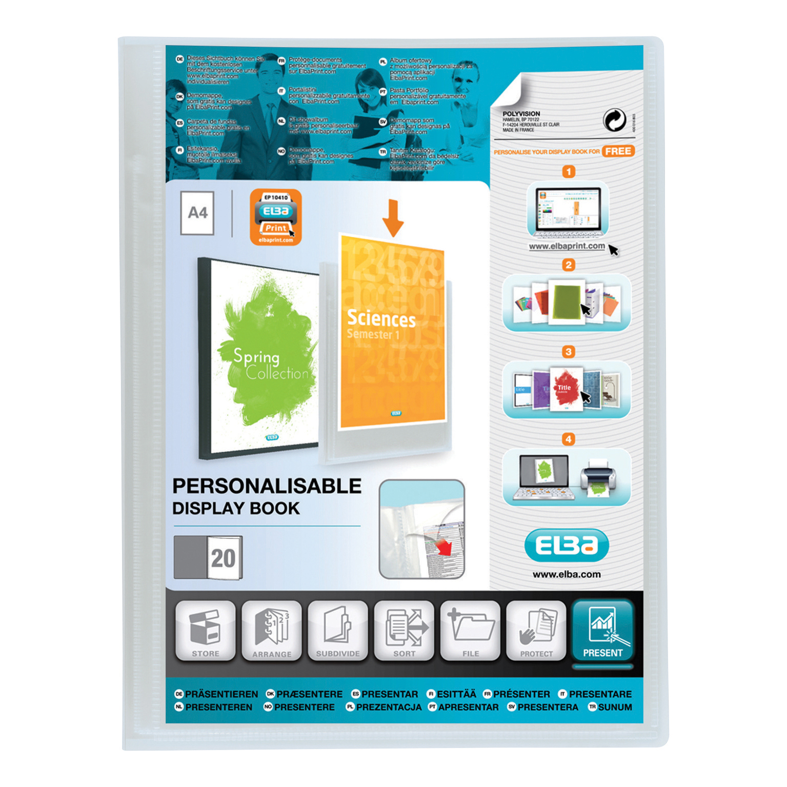 Elba Polyvision Display Book Polypropylene 40 Pockets A4 Clear Ref 100206232
