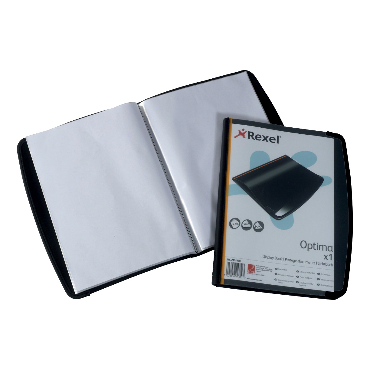 Display Books Rexel Optima Display Book Professional 20 Pockets Front Cover Pocket A4 Black Ref 2101130