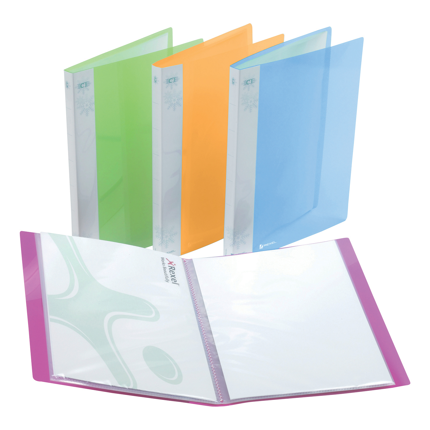 Rexel Ice Display Book Polypropylene 20 Pockets A4 Assorted Ref 2102038 Pack 10