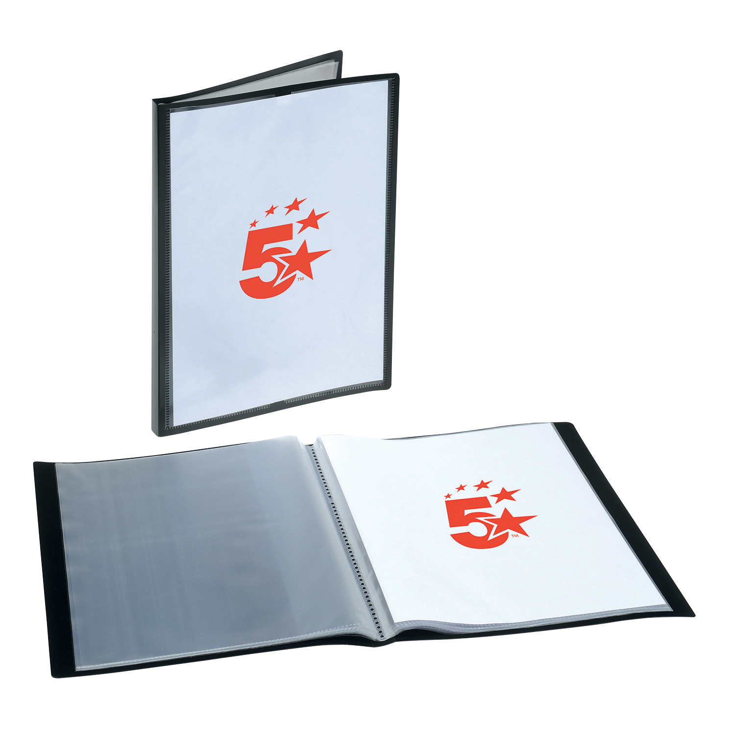5 Star Office Display Book Personalisable Cover Polypropylene 20 Pockets A4 Black