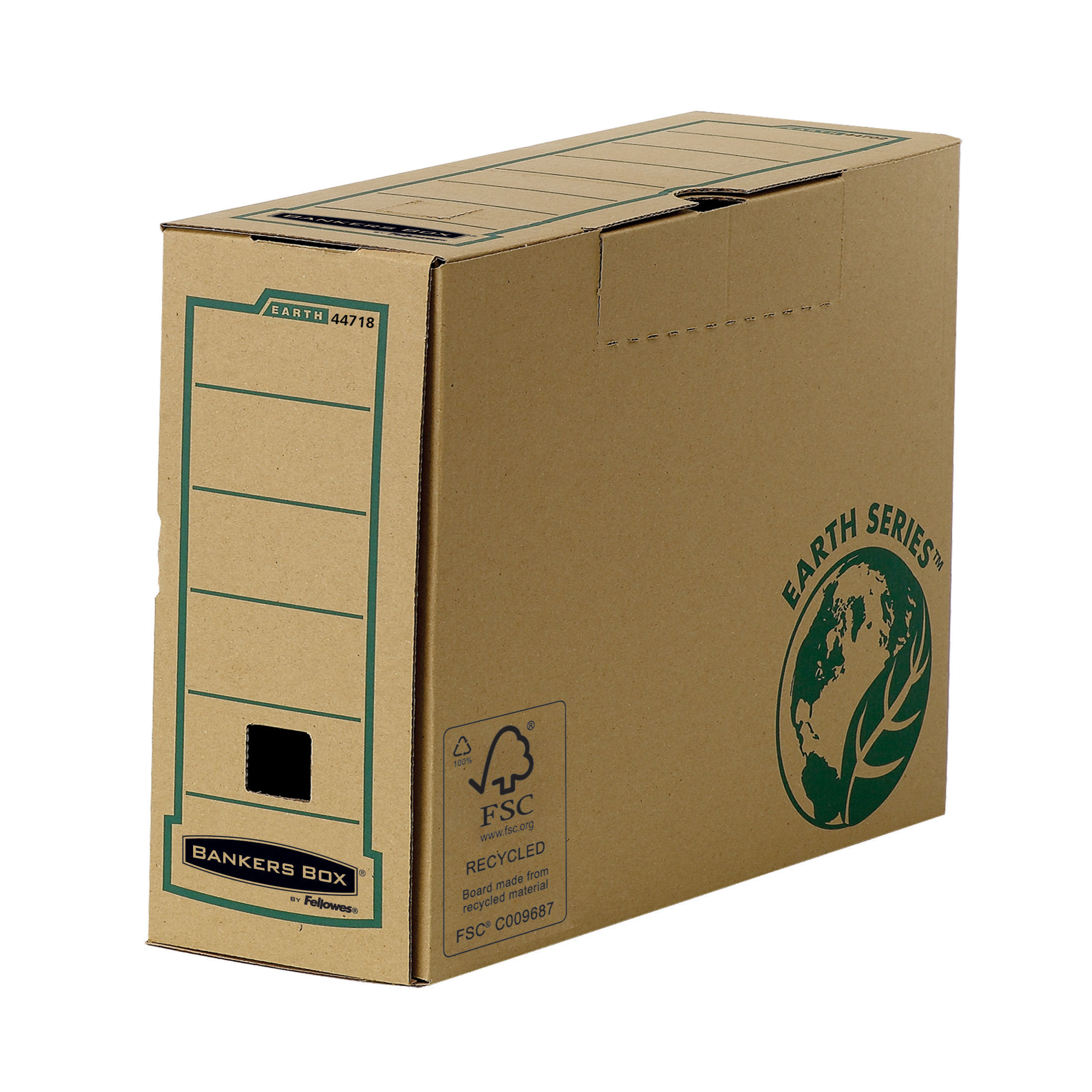 Transfer Files Bankers Box by Fellowes Earth Srs Transfer Bx File Rcyc FSC Tab Lock Lid W100mm A4 Ref 4470201 Pack 20