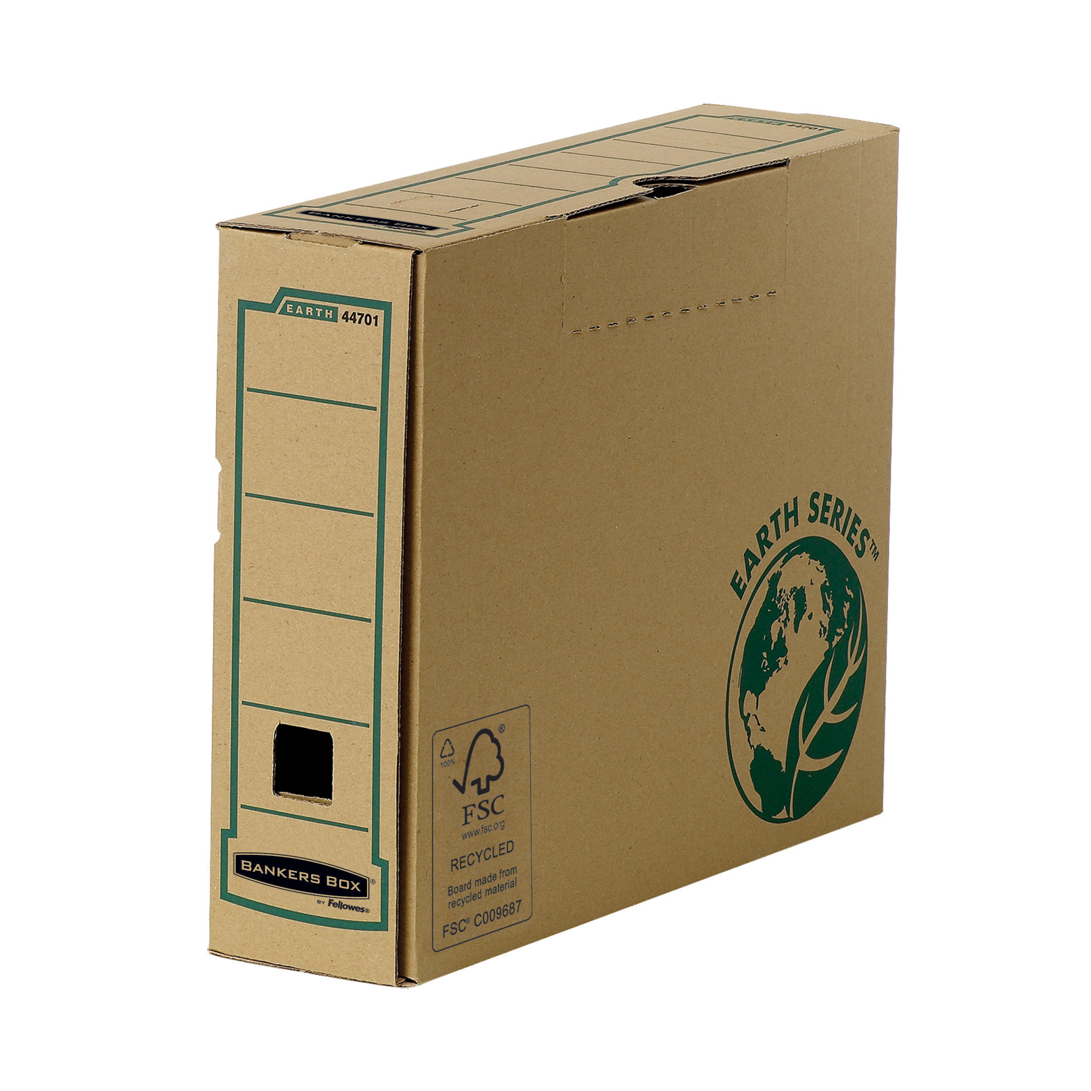 Transfer Files Bankers Box by Fellowes Earth Srs Transfer Bx File Rcyc FSC Tab Lock Lid W80mm A4 Ref 4470101 Pack 20