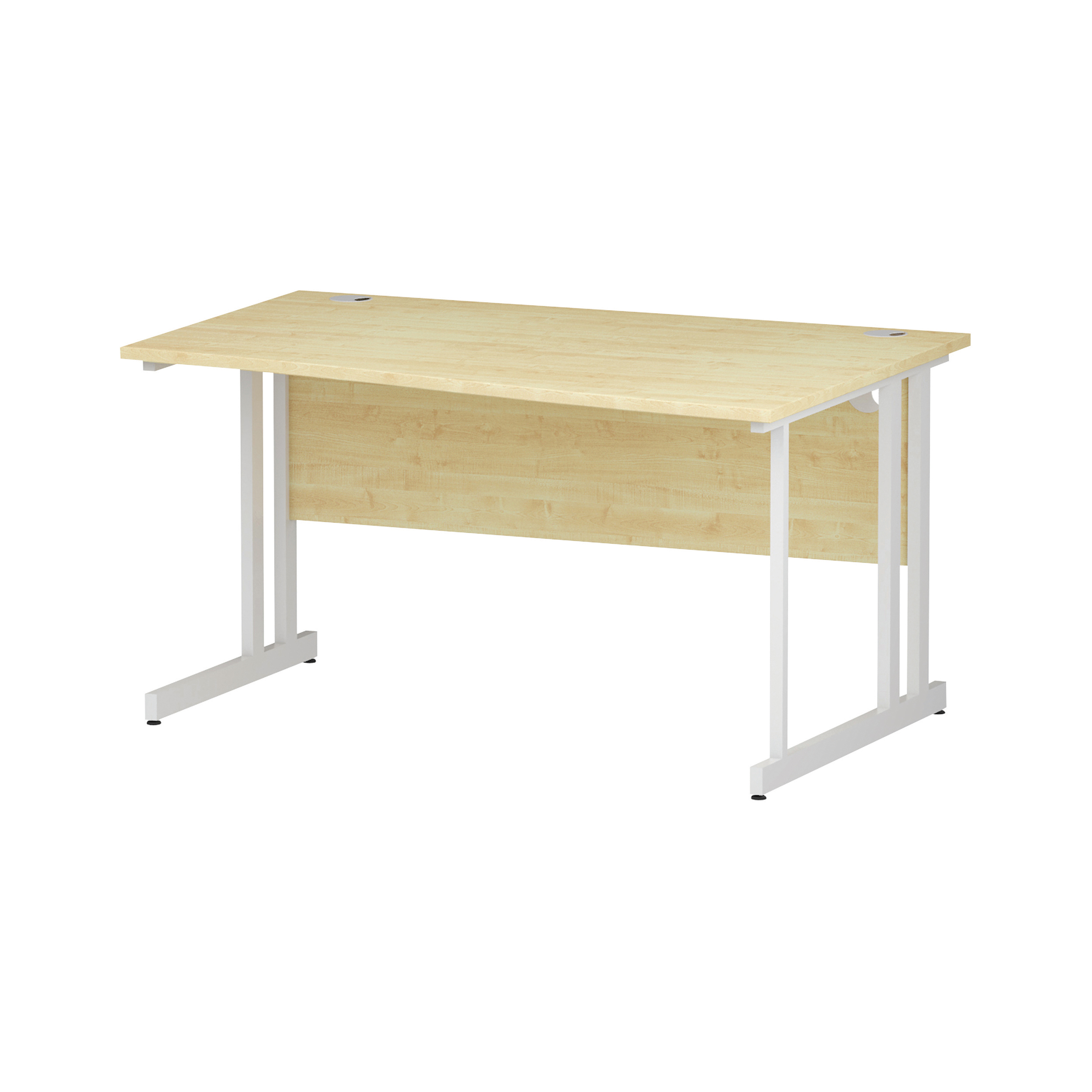 Trexus Wave Desk Right Hand White Cantilever Leg 1400mm Maple Ref I002568
