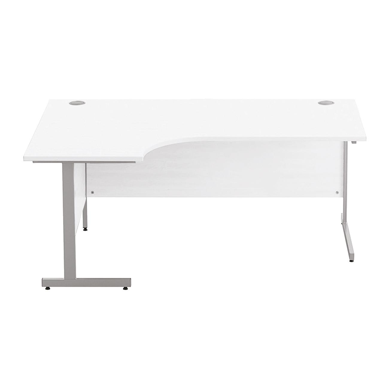 Sonix Premium Radial Desk Left Hand Silver Cantilever Leg 1800mm Polar White Ref w9971lwh