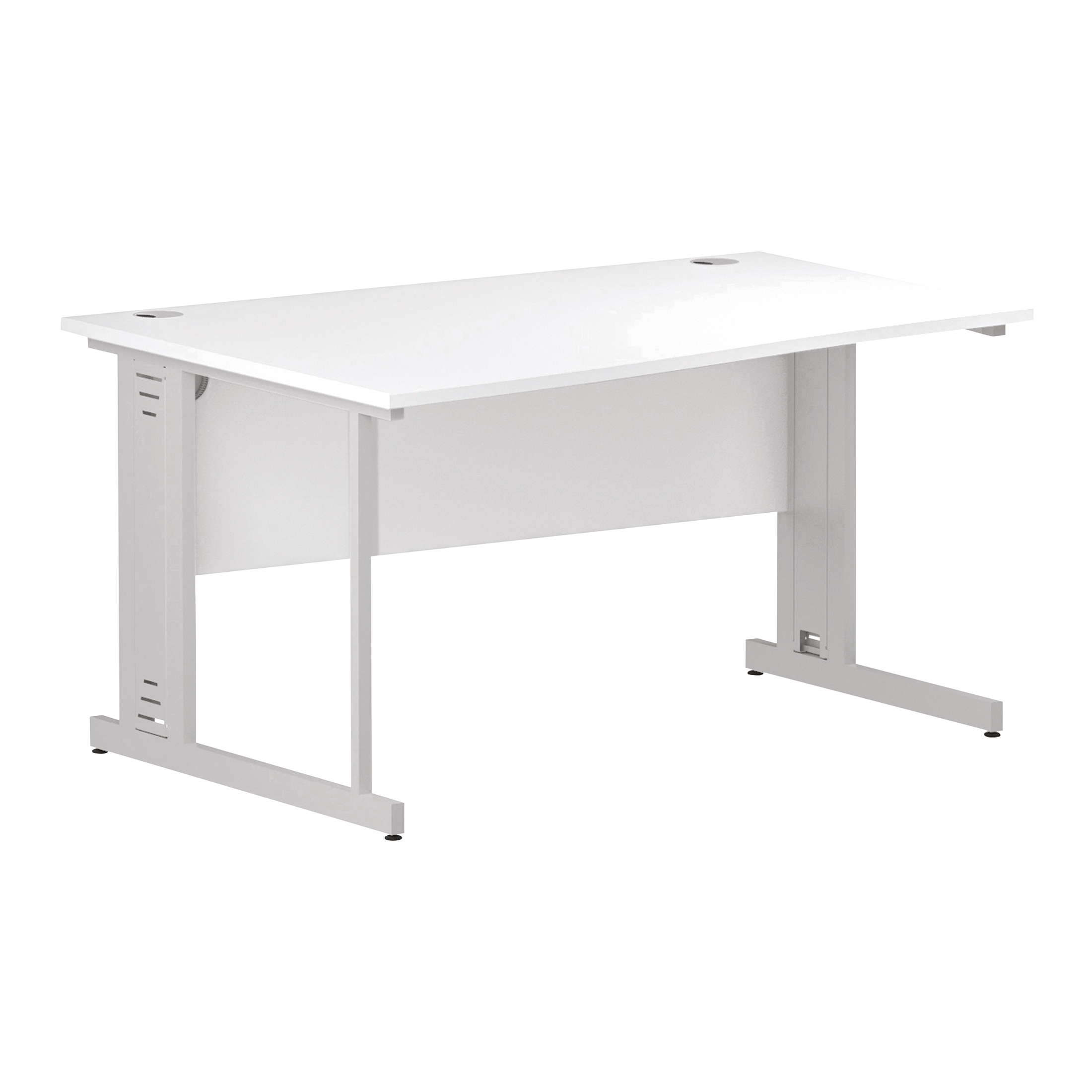 Trexus Wave Desk Left Hand White Cable Managed Leg 1400mm White Ref I002345