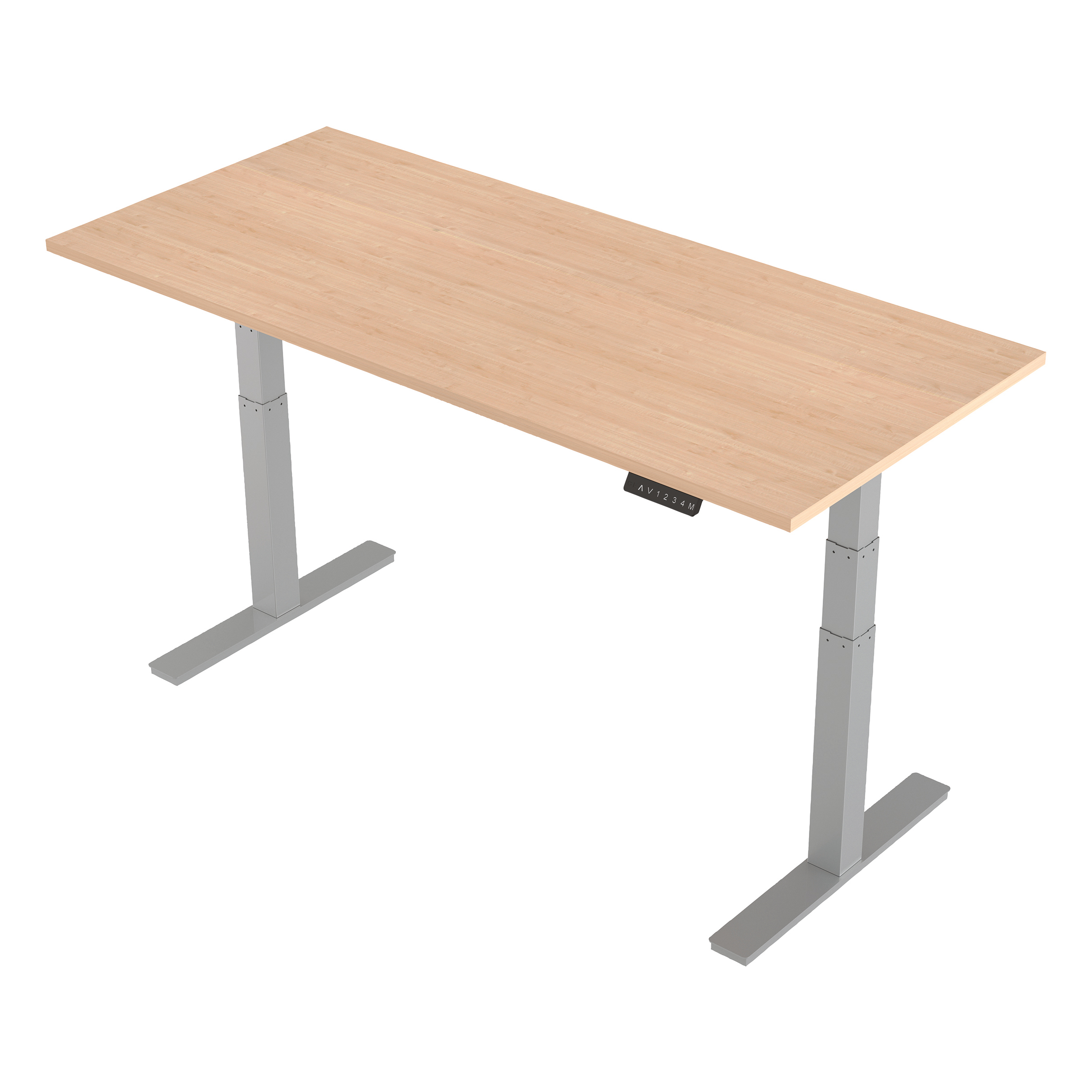 Trexus Sit-Stand Desk Height-adjustable Silver Leg Frame 1800/800mm Maple Ref HA01016
