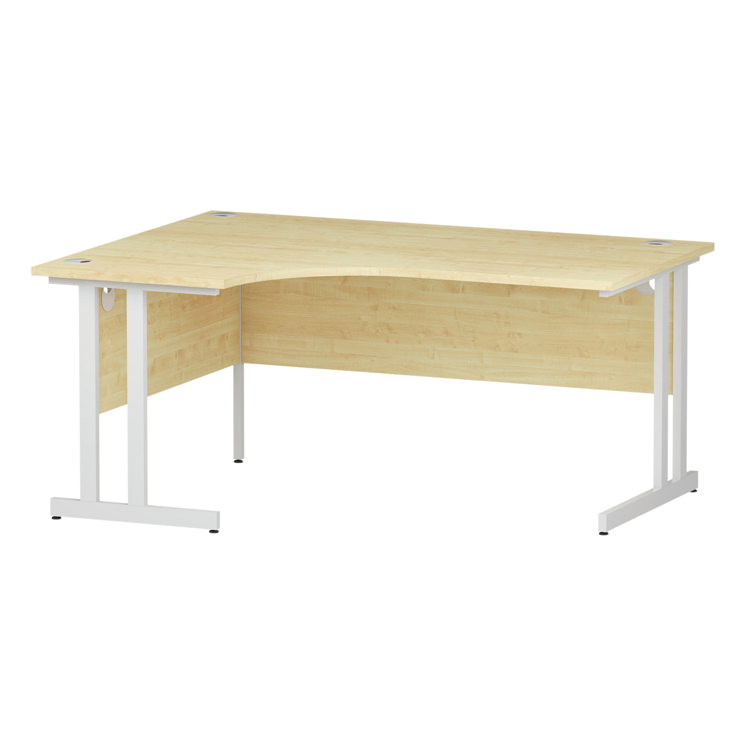 Trexus Radial Desk Left Hand White Cantilever Leg 1600mm Maple Ref I002618