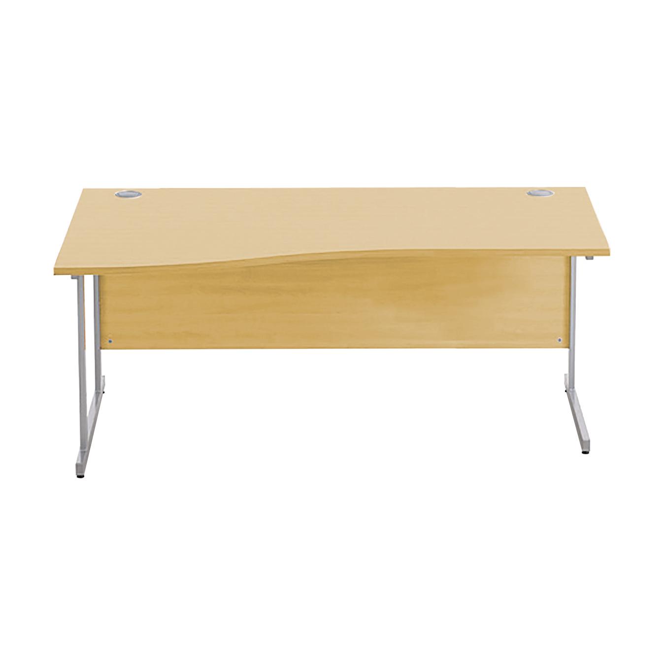 Desks Sonix Premium Wave Desk Left Hand Silver Cantilever Leg 1800mm Natural Oak Ref w9979lo