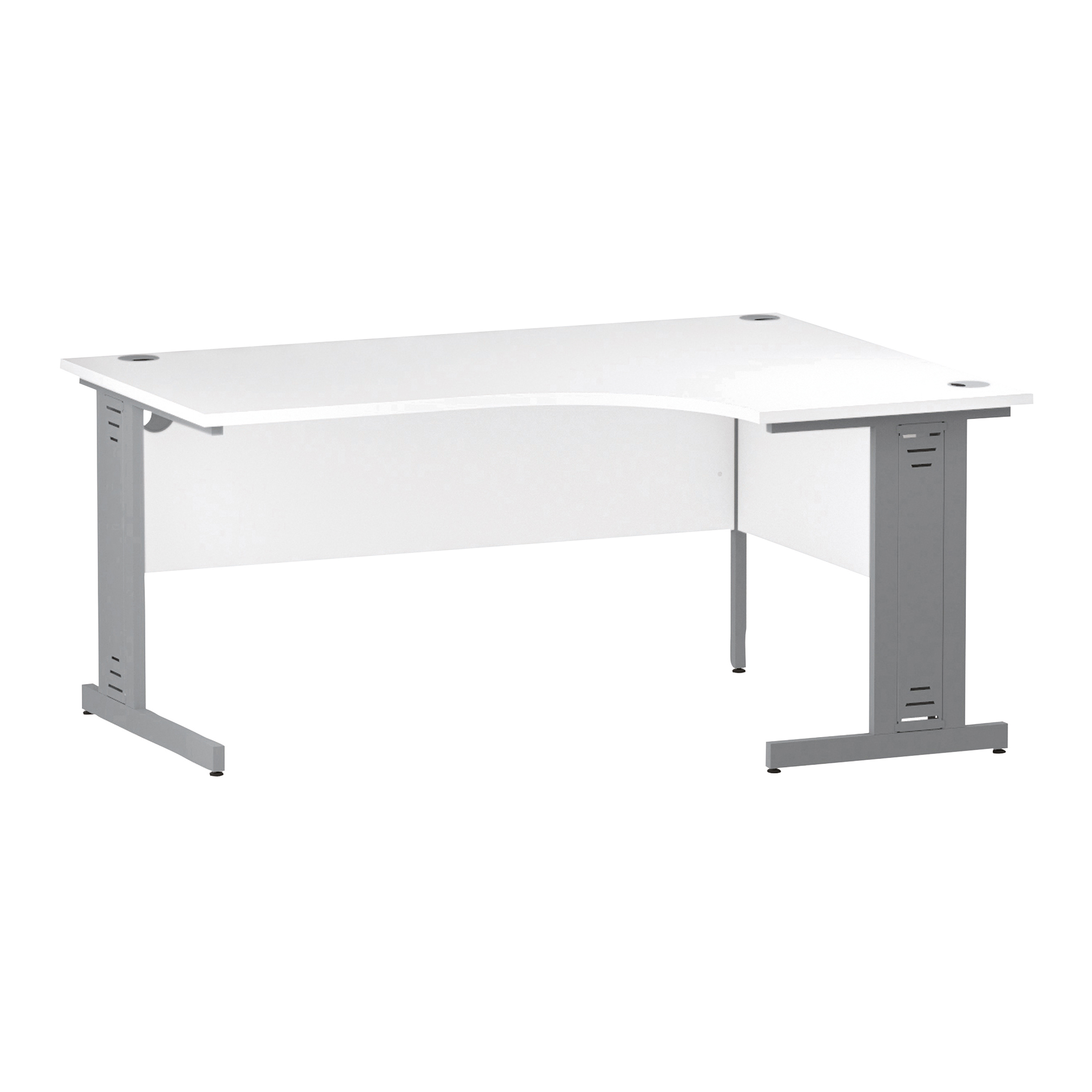 Trexus Radial Desk Right Hand Silver Cable Managed Leg 1600/1200mm White Ref I000492