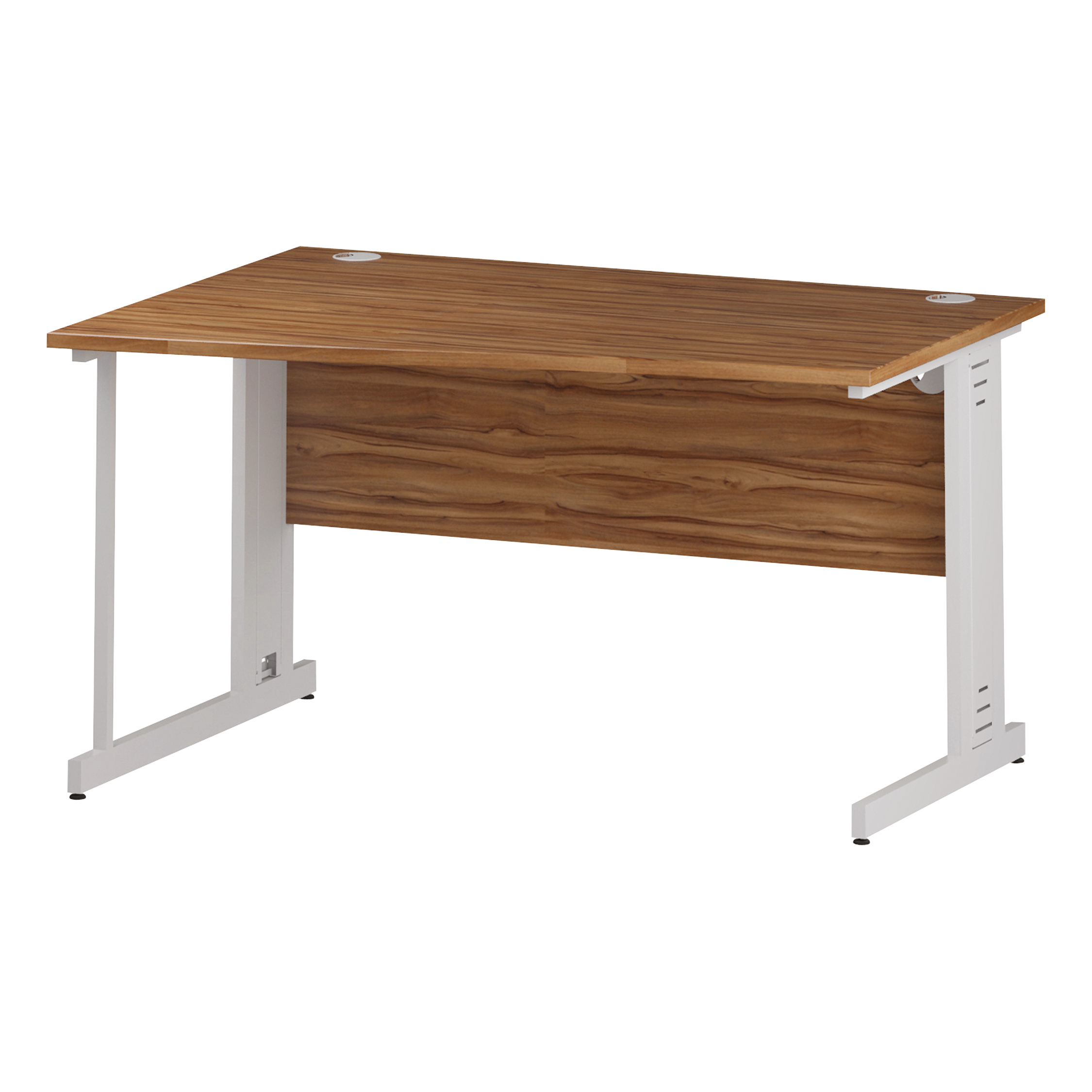 Trexus Wave Desk Left Hand White Cable Managed Leg 1400mm Walnut Ref I002081