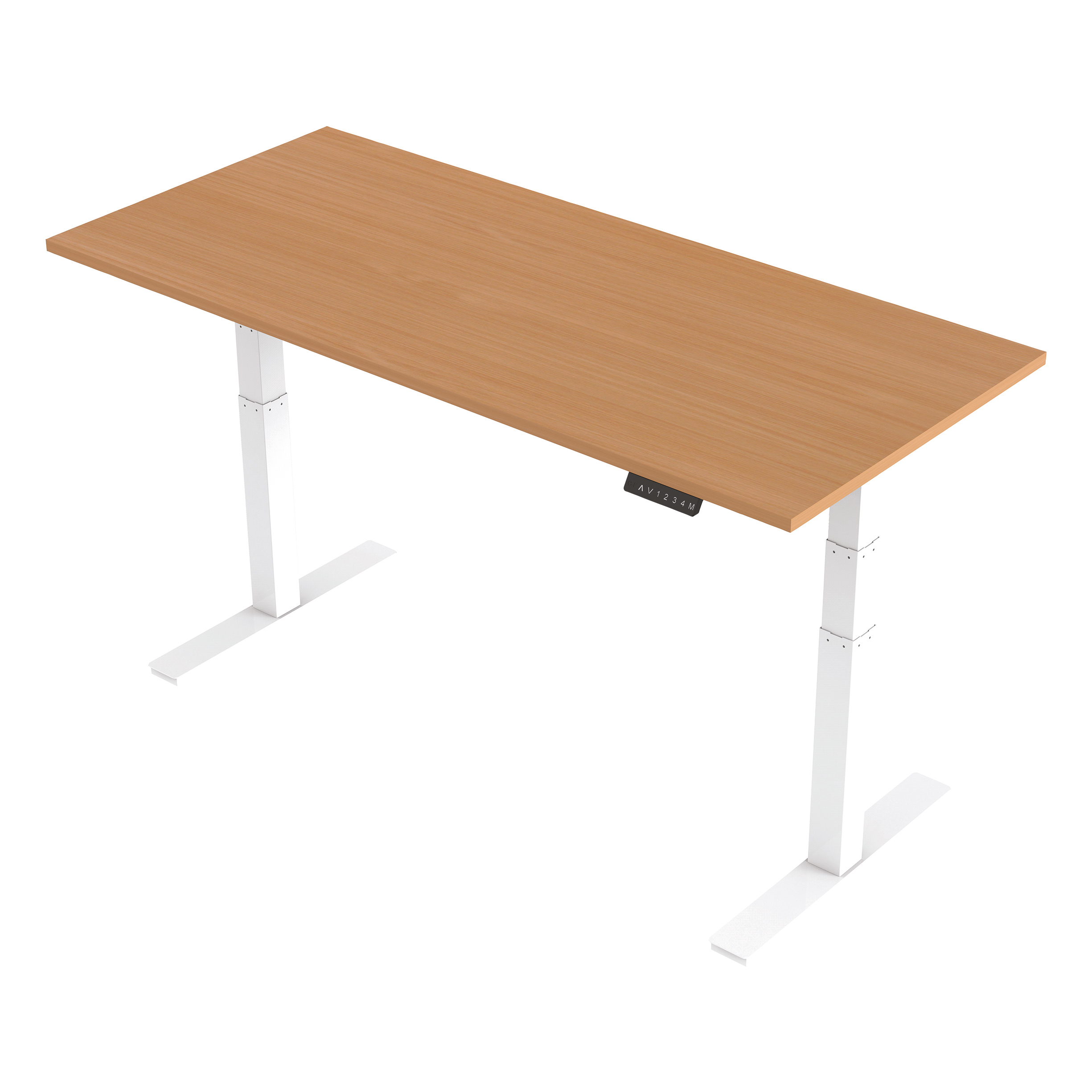 Trexus Sit Stand Desk Height-adjustable White Leg Frame 1800/800mm Beech Ref HA01024